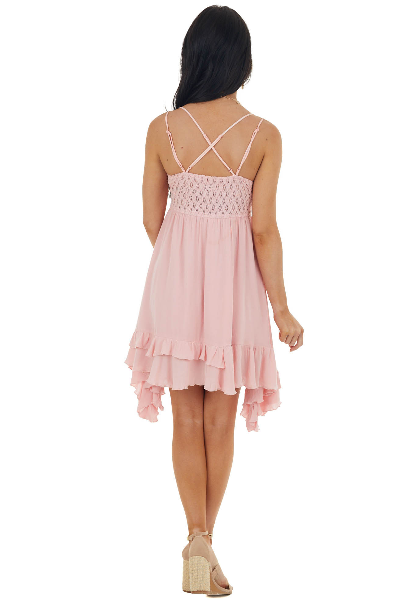 Cherry Blossom Sleeveless Dress with Crochet Lace Details