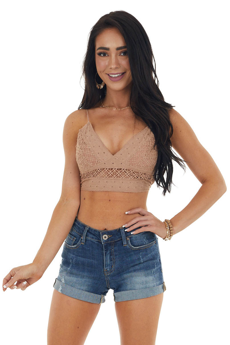Taupe Cropped Tank Top with Crochet Details