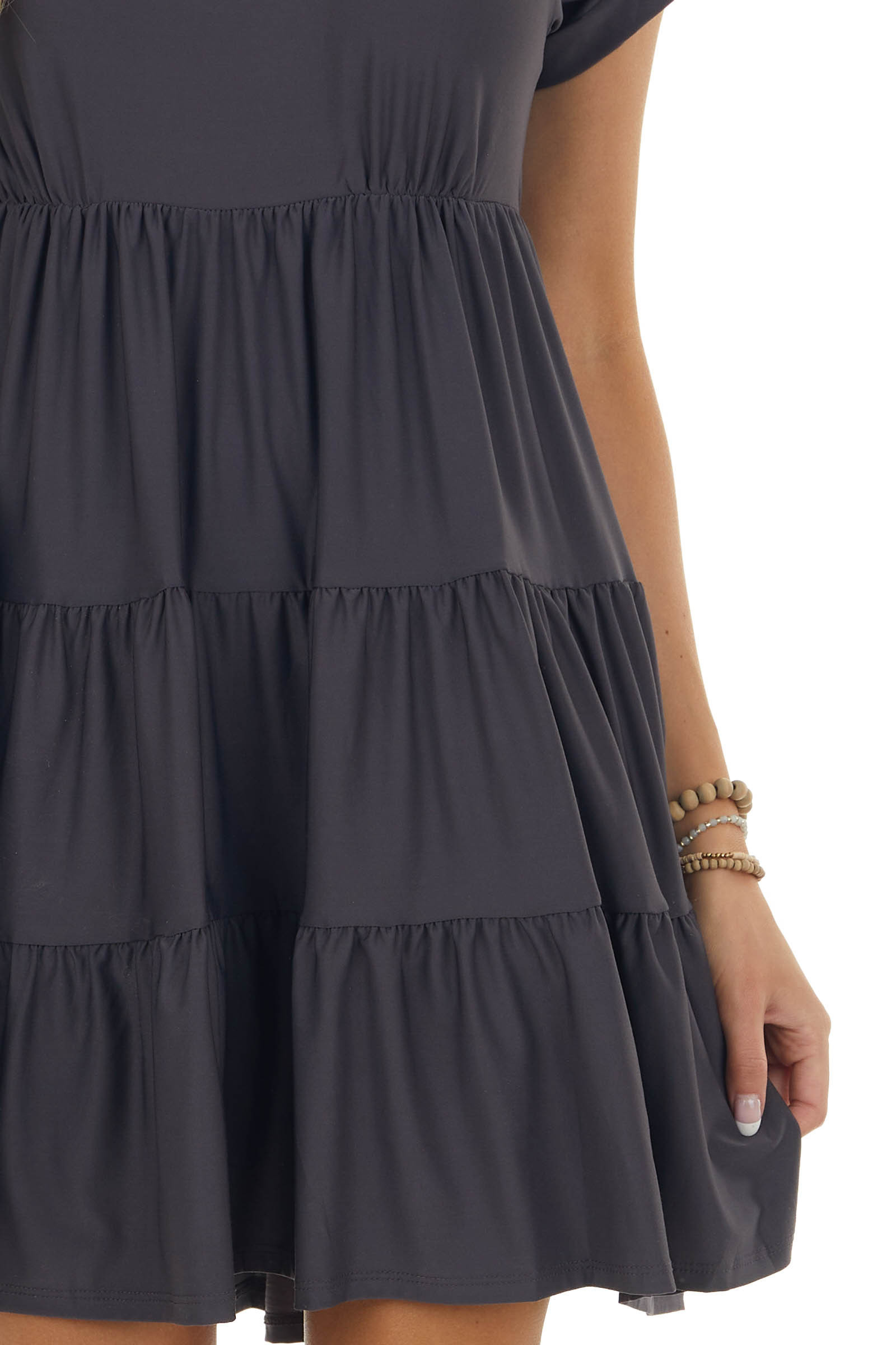 Charcoal Tiered V Neck Dress with Short Sleeves