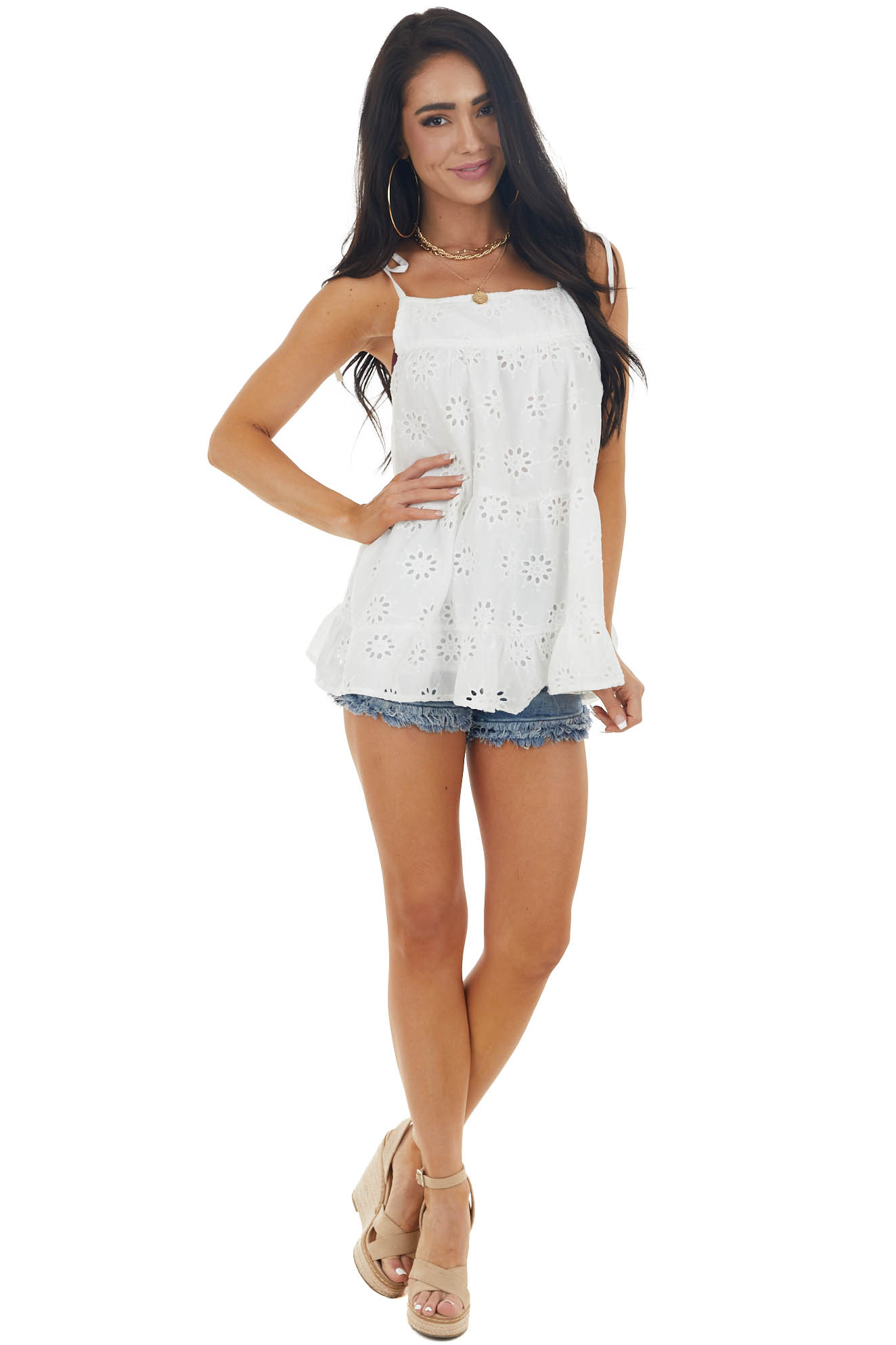 Pearl Sleeveless Tiered Eyelet Lace Tank Top