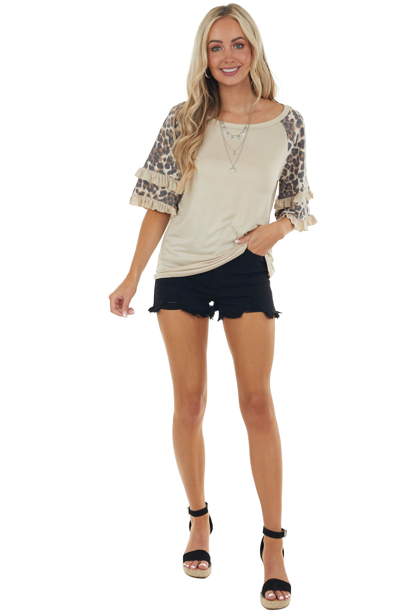 Camel Top with Leopard Print Ruffled Sleeves