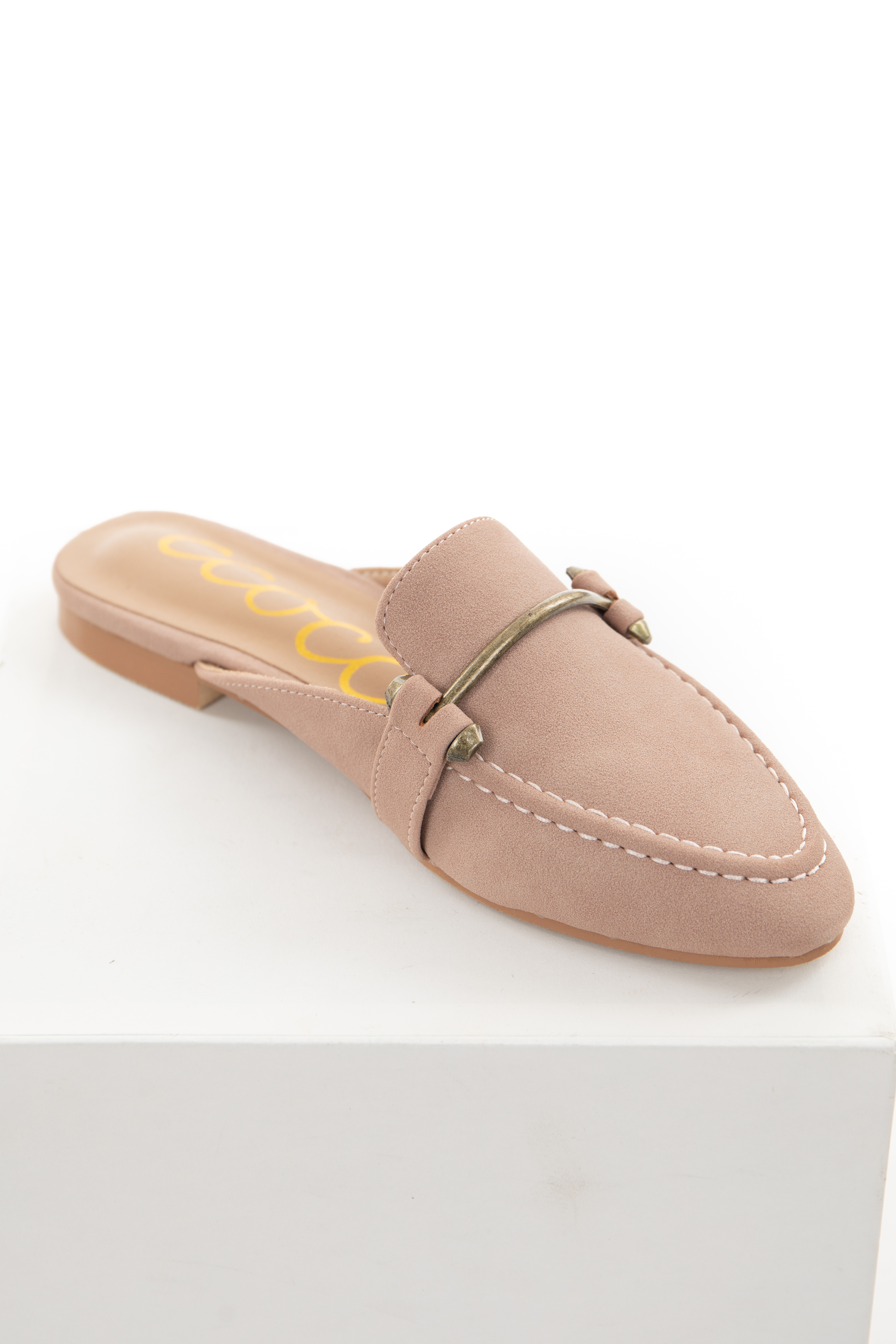 Dusty Rose Faux Suede Bar Detail Slip On Mules