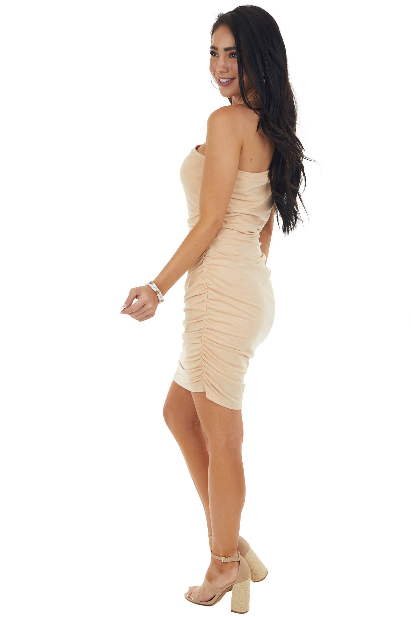 Beige Sleeveless One Shoulder Ruched Bodycon Mini Dress