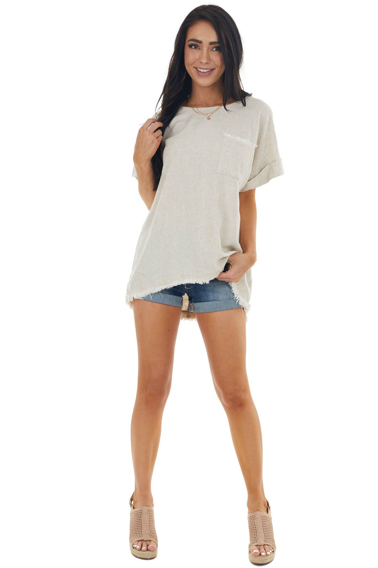 Oatmeal Short Sleeve Woven Top with Front Pocket Detail