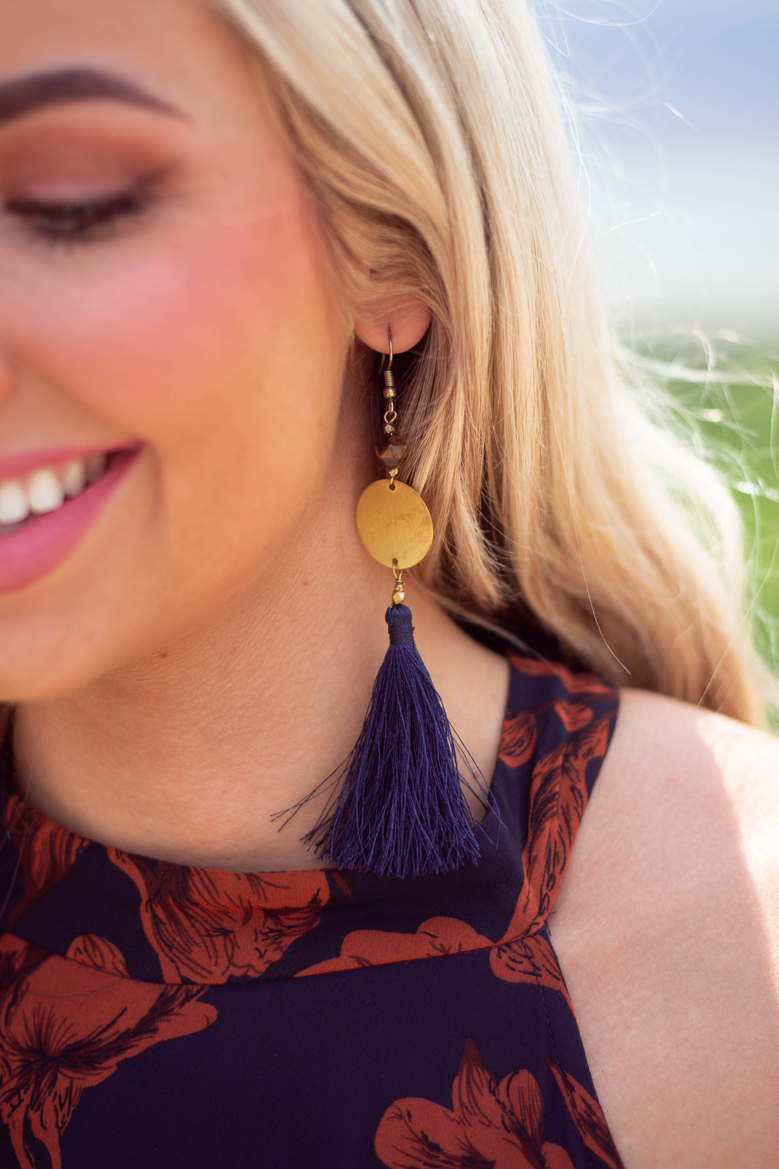 Navy Tassel Earrings with Gold Circle Pendant