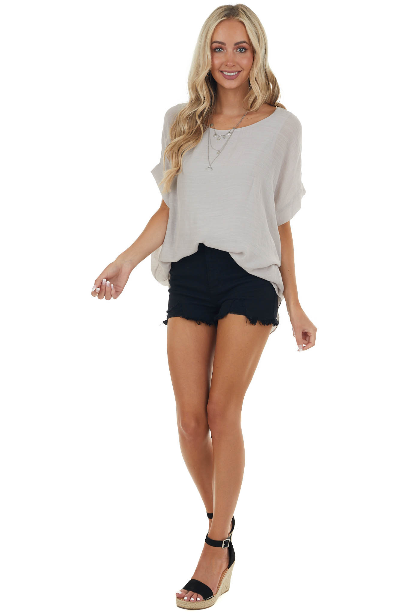 Heather Grey Short Sleeve Top with Cuffed Sleeves