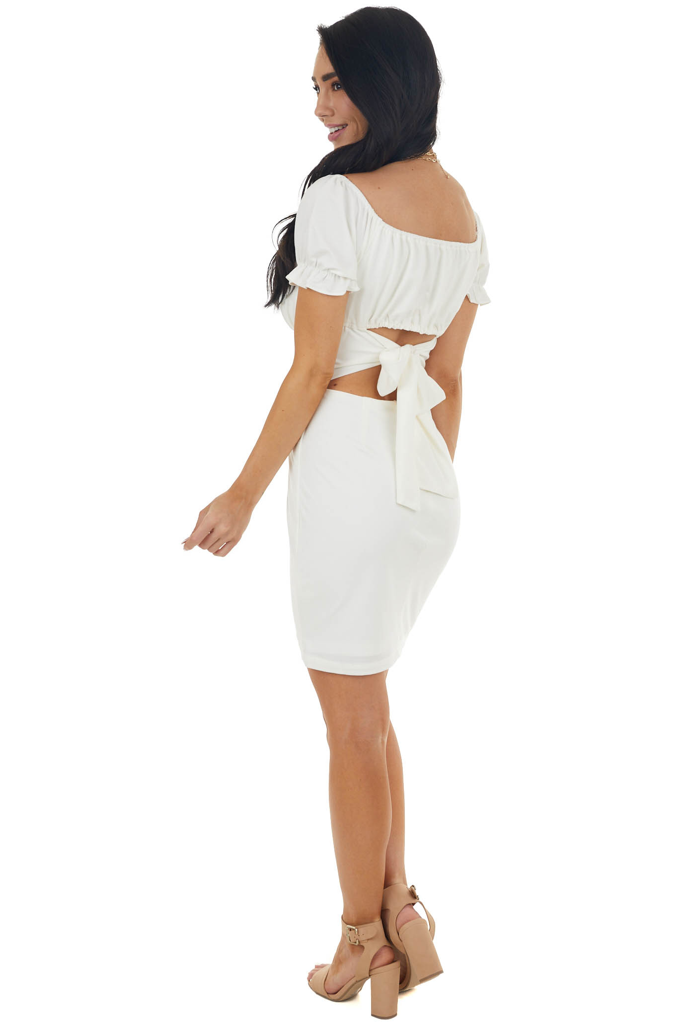 Ivory Ruched Bust Bodycon Tie Back Mini Dress