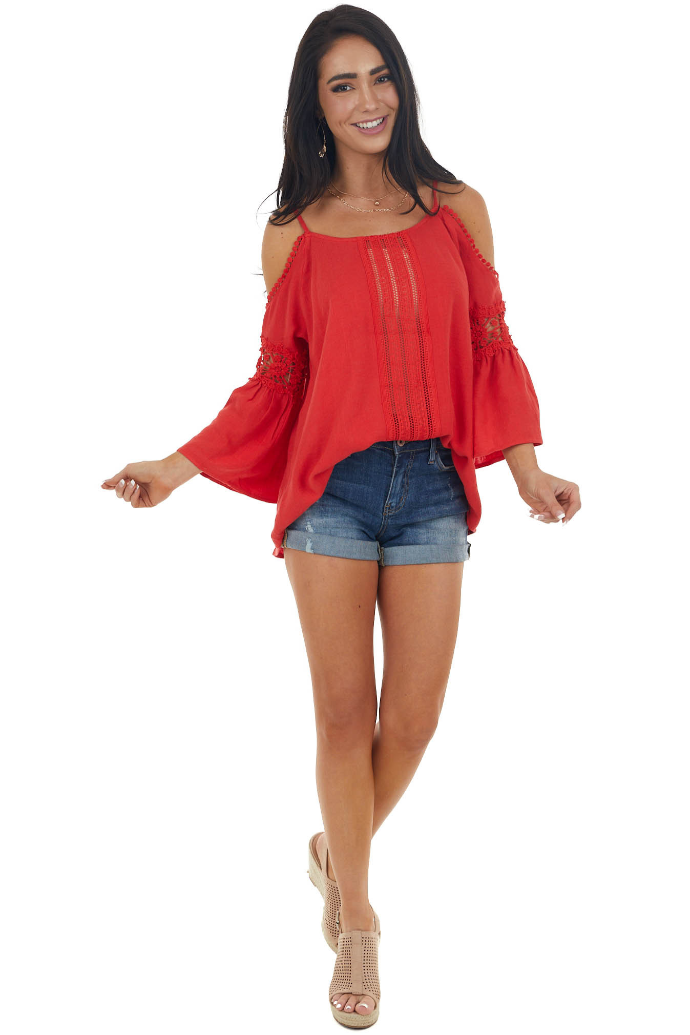 Scarlet Cold Shoulder Top with Lace Cut Out
