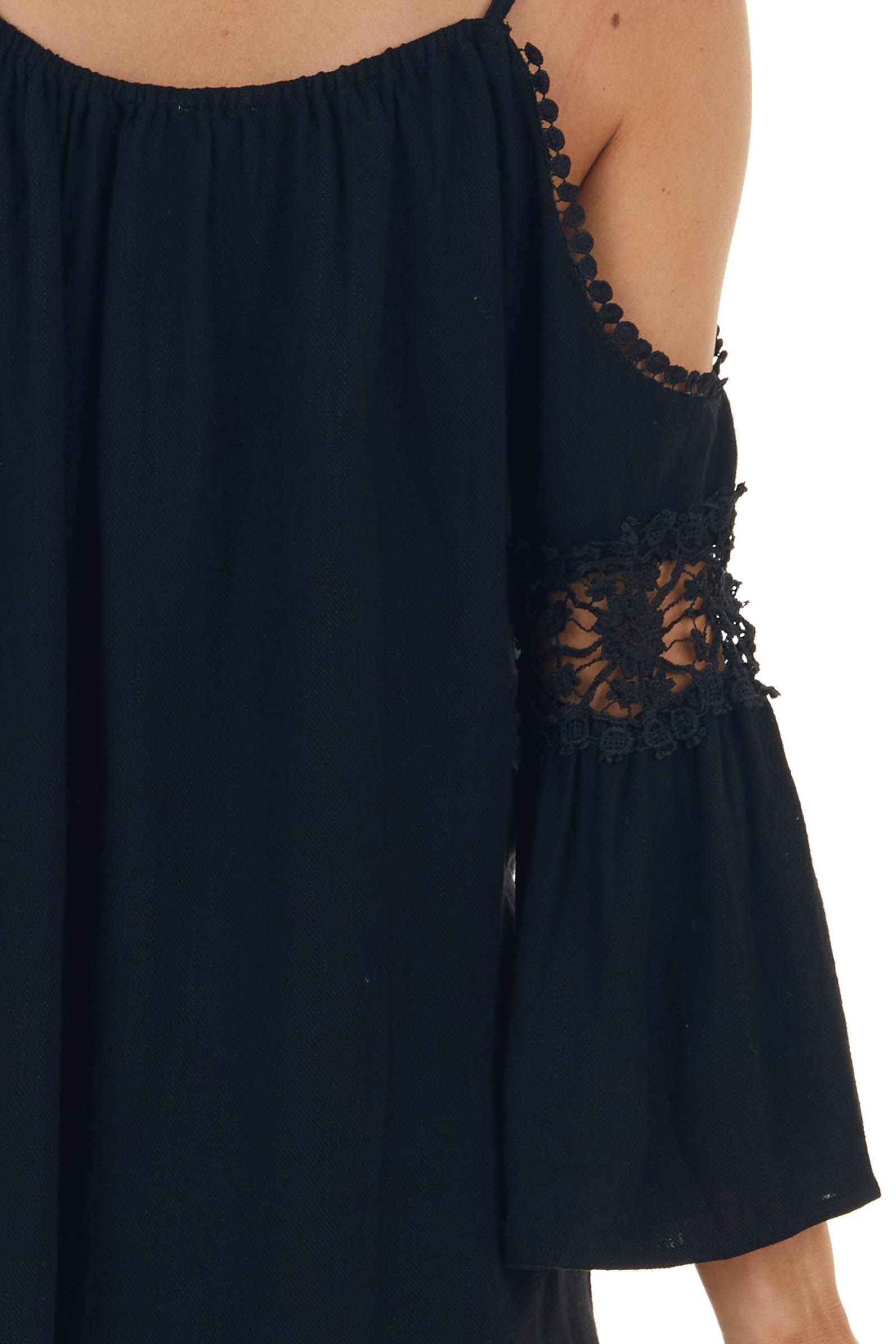 Black Cold Shoulder Top with Lace Cut Out