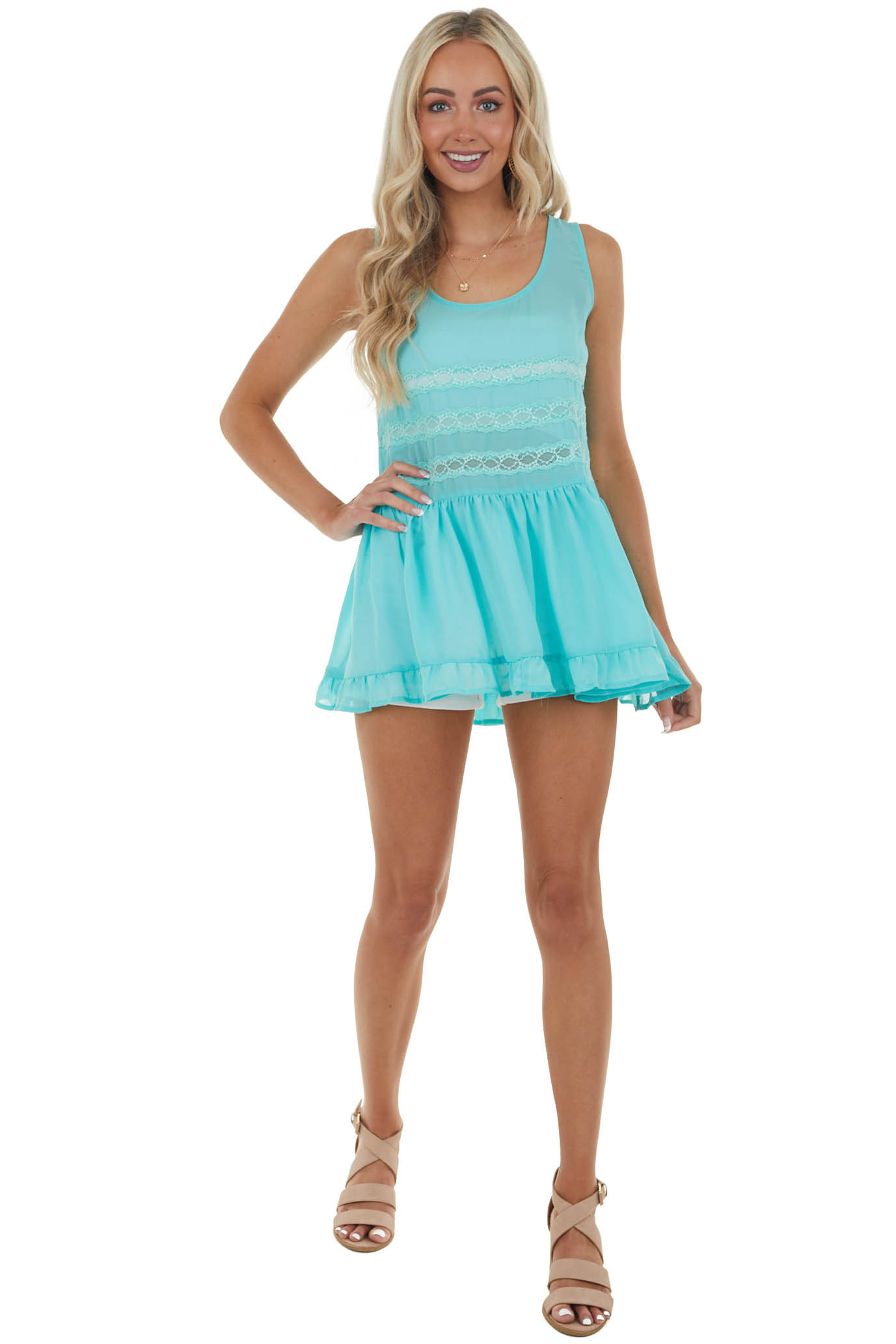 Turquoise Sleeveless Sheer Tank Top with Lace Turquoise Sleeveless Sheer Tank Top with Lace