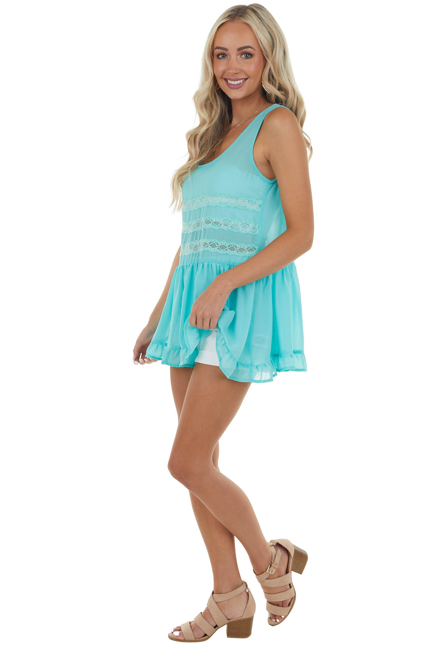 Turquoise Sleeveless Sheer Tank Top with Lace