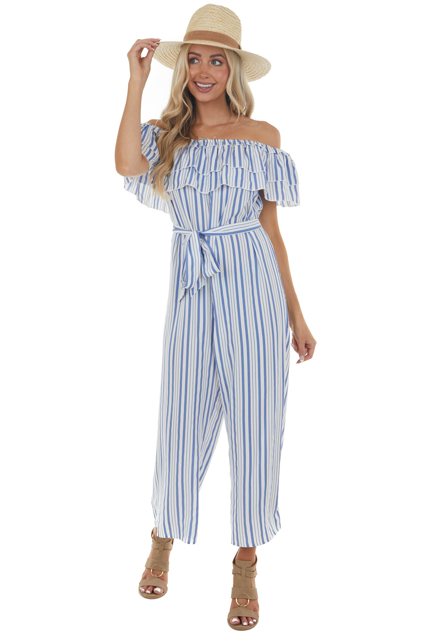 Sapphire and Off White Striped Ruffled Jumpsuit