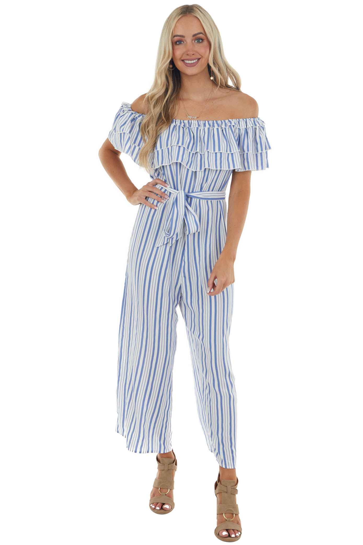 Saphire and Off White Striped Ruffled Jumpsuit