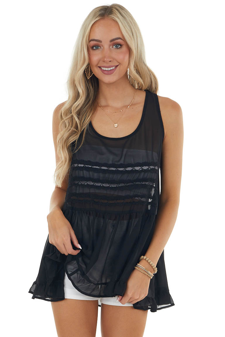 Black Sleeveless Sheer Tank Top with Lace