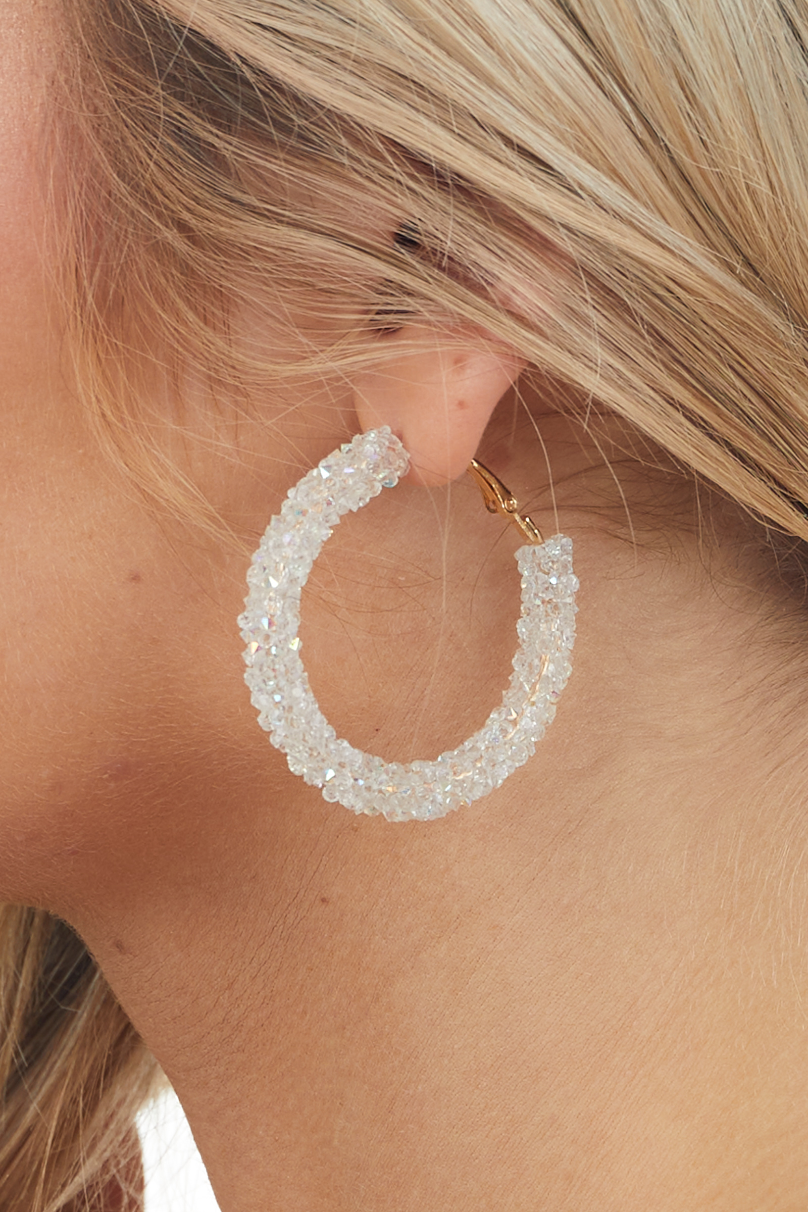Clear and Gold Beaded Textured Hoop Earrings