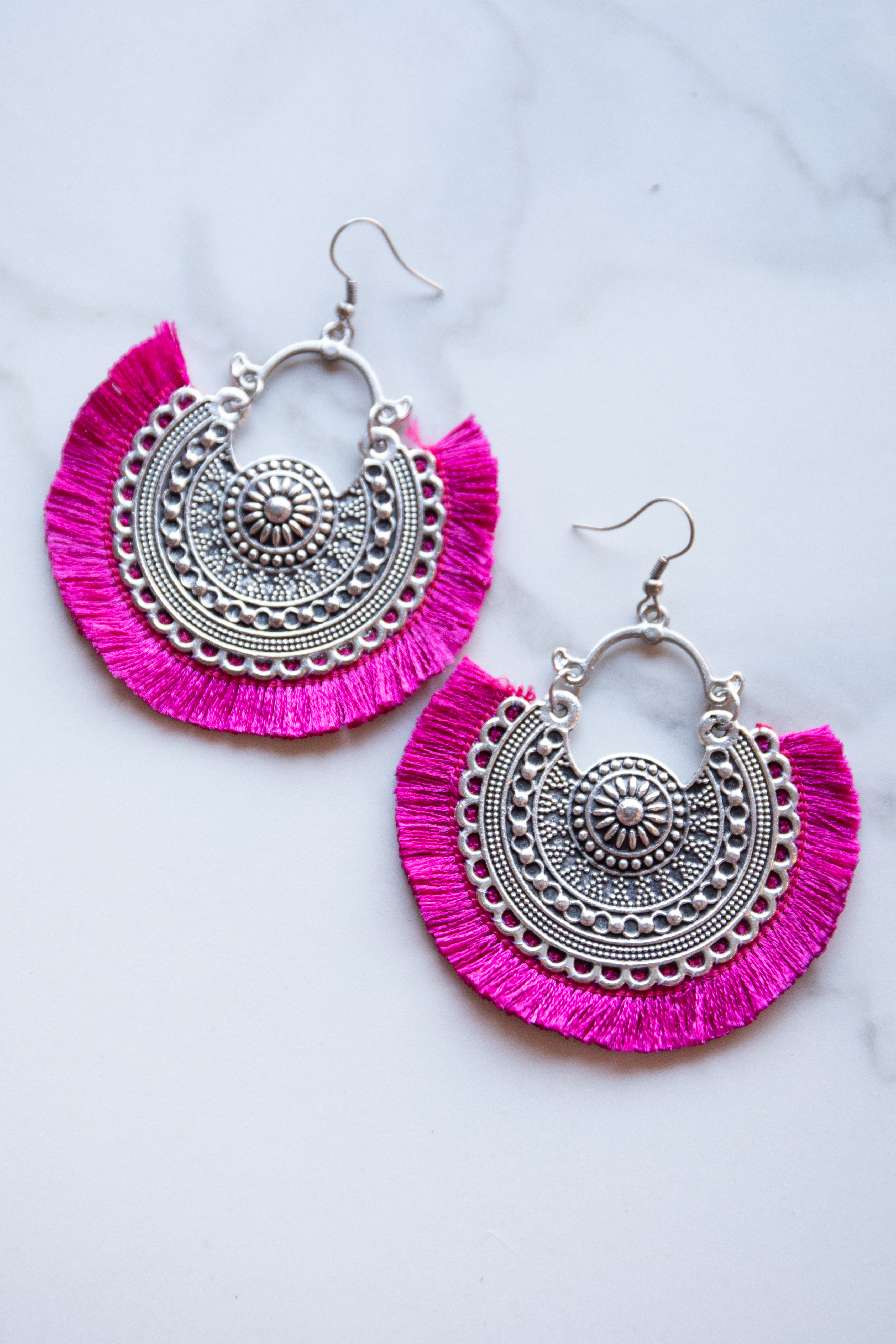 Magenta and Antique Silver Medallion Earrings