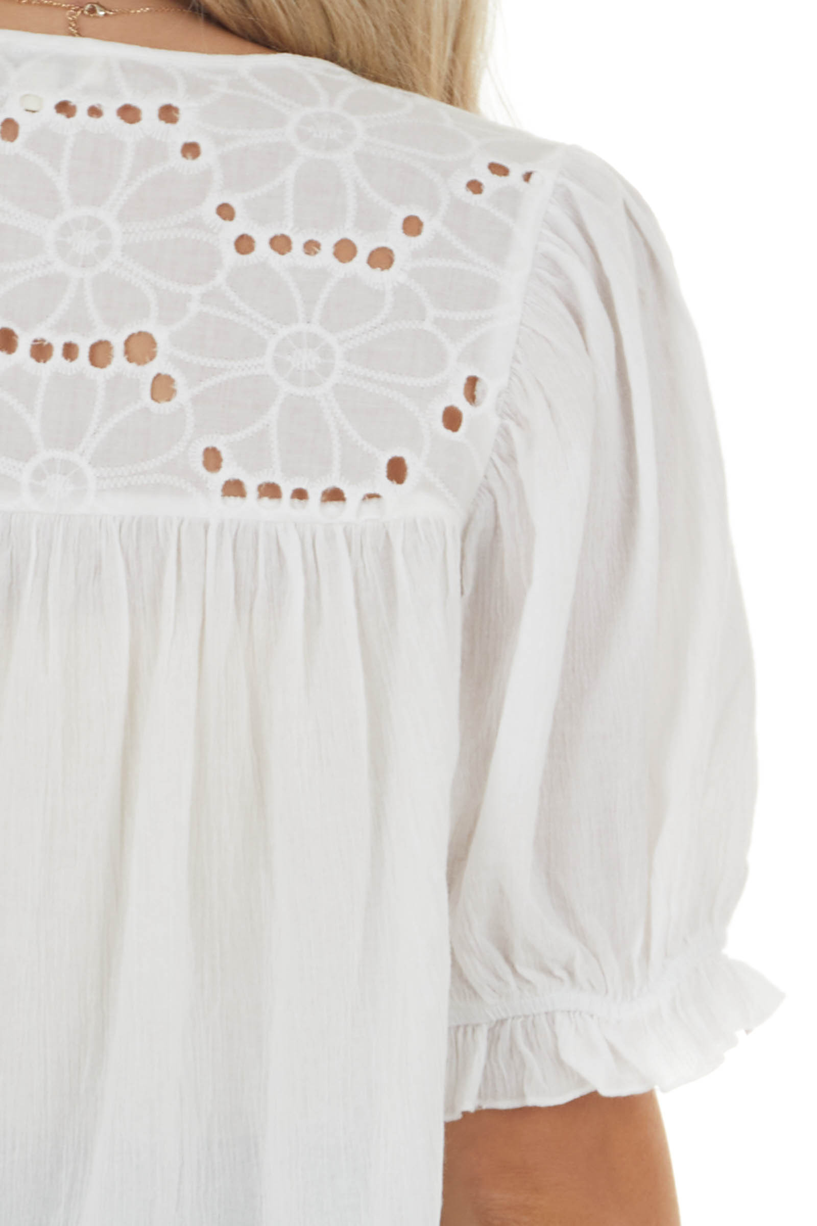 Off White Split Neck Blouse with Eyelet Lace