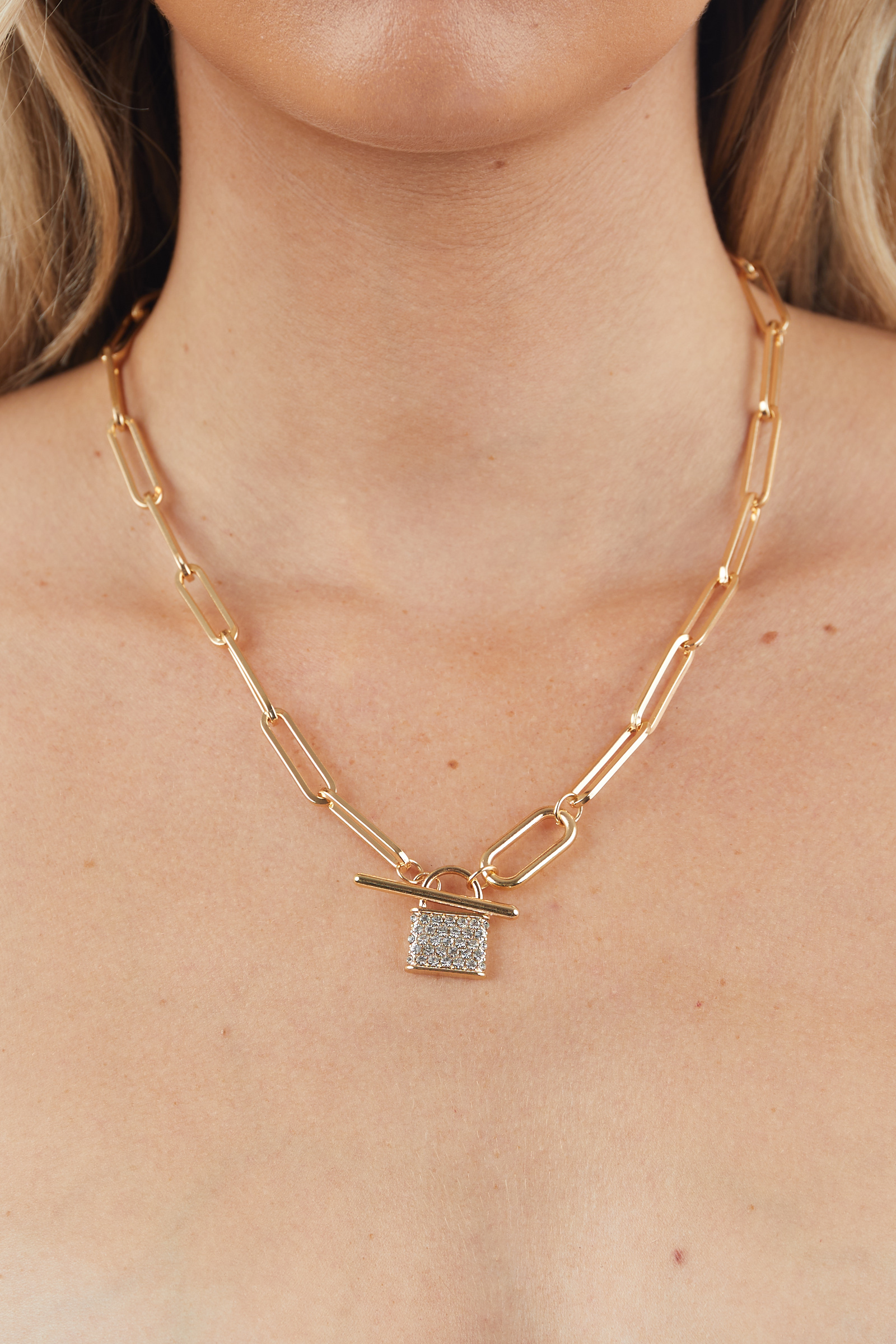 Gold Paperclip Chain Lock Pendant Necklace