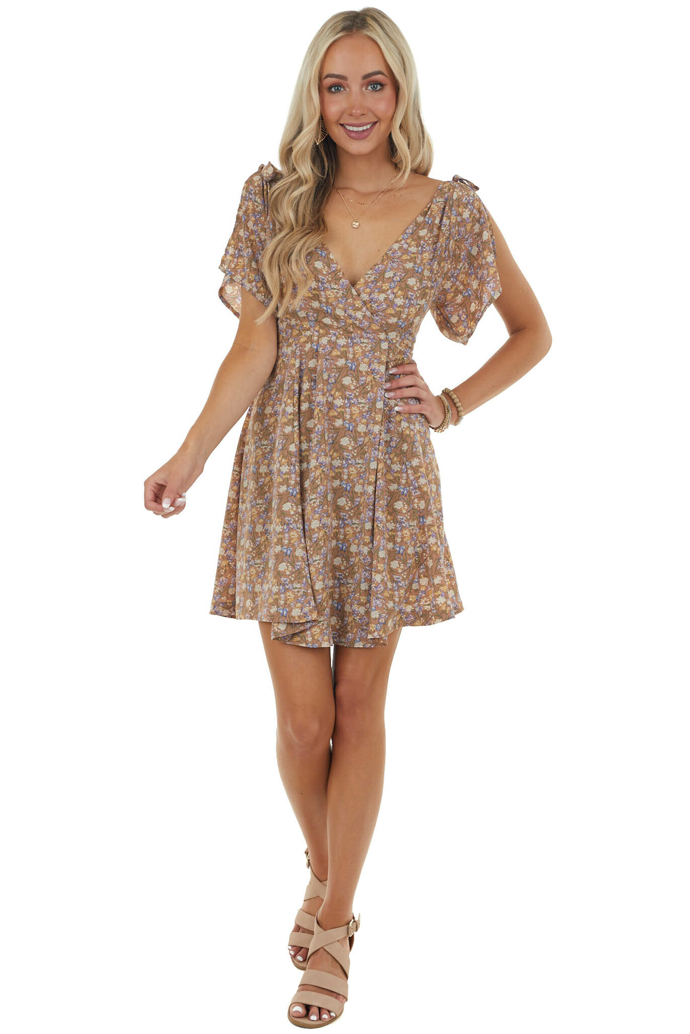 Rose Taupe Floral Print Dress with Tie Straps