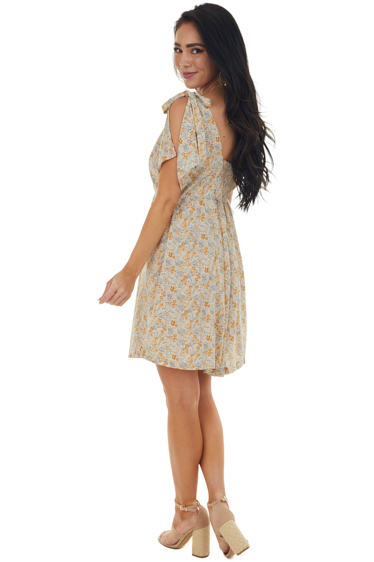 Coconut Floral Print Dress with Tie Straps