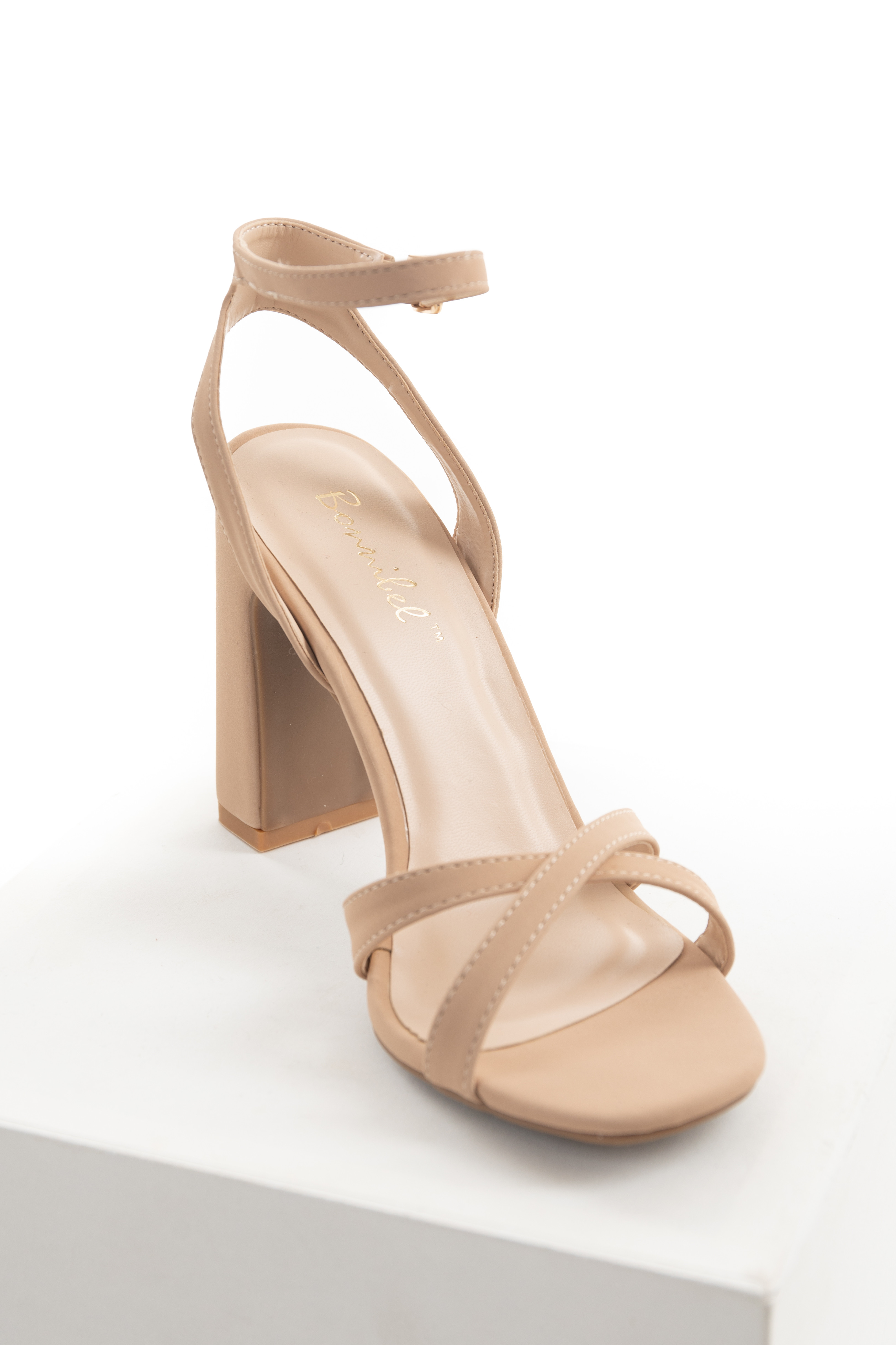 Nude Strappy Chunky Heel Gold Buckle Sandal