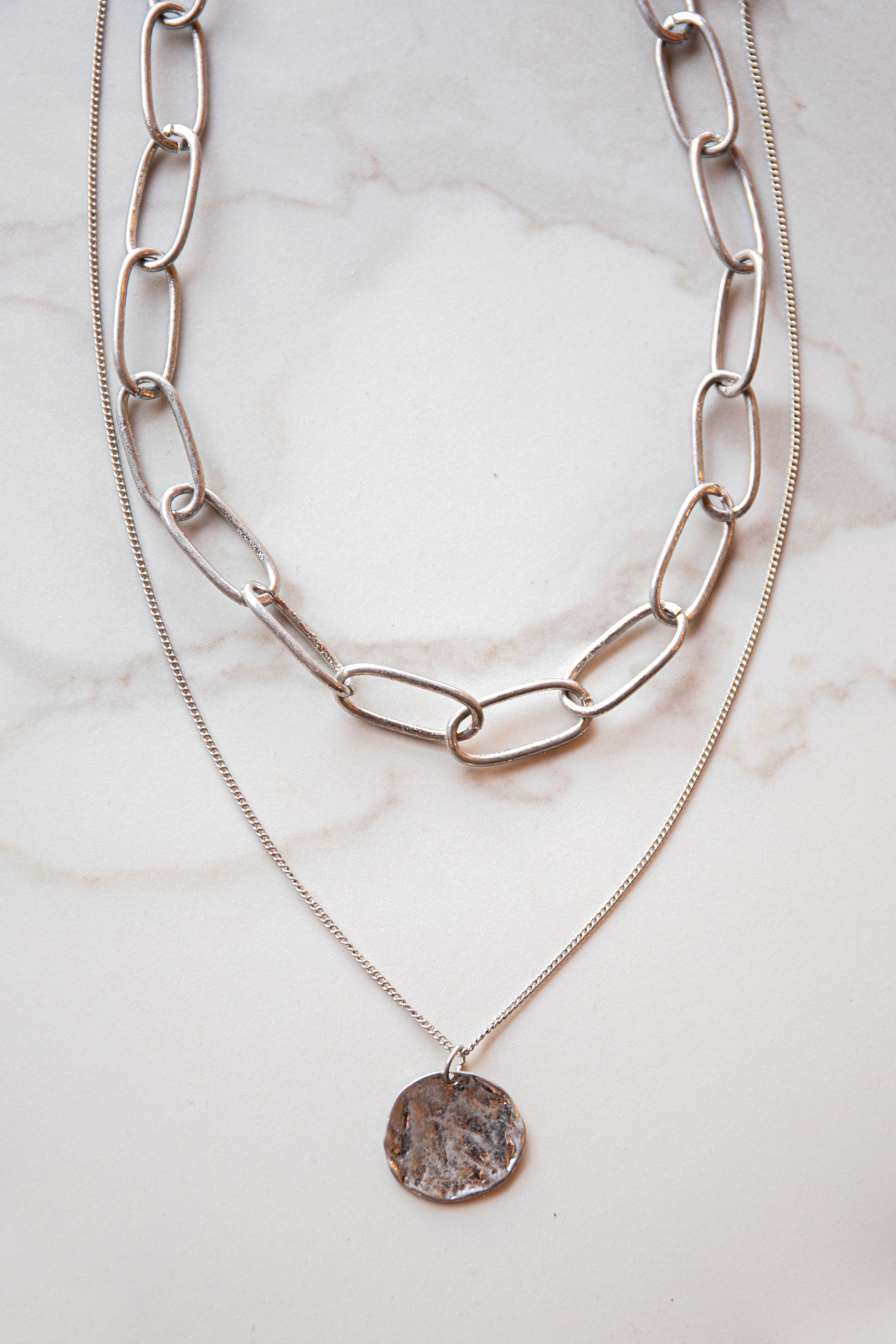 Silver Large Cable Chain Layered Necklace