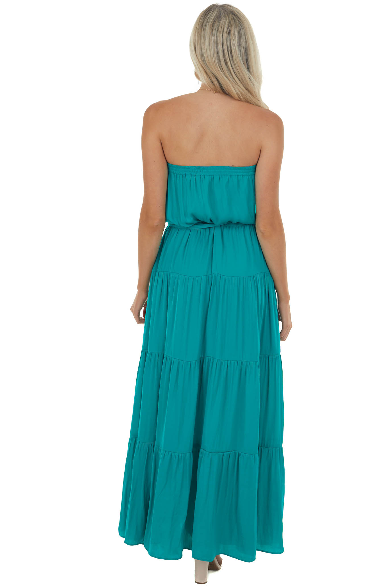 Jungle Green Tiered Strapless Maxi Dress with Elastic Waist