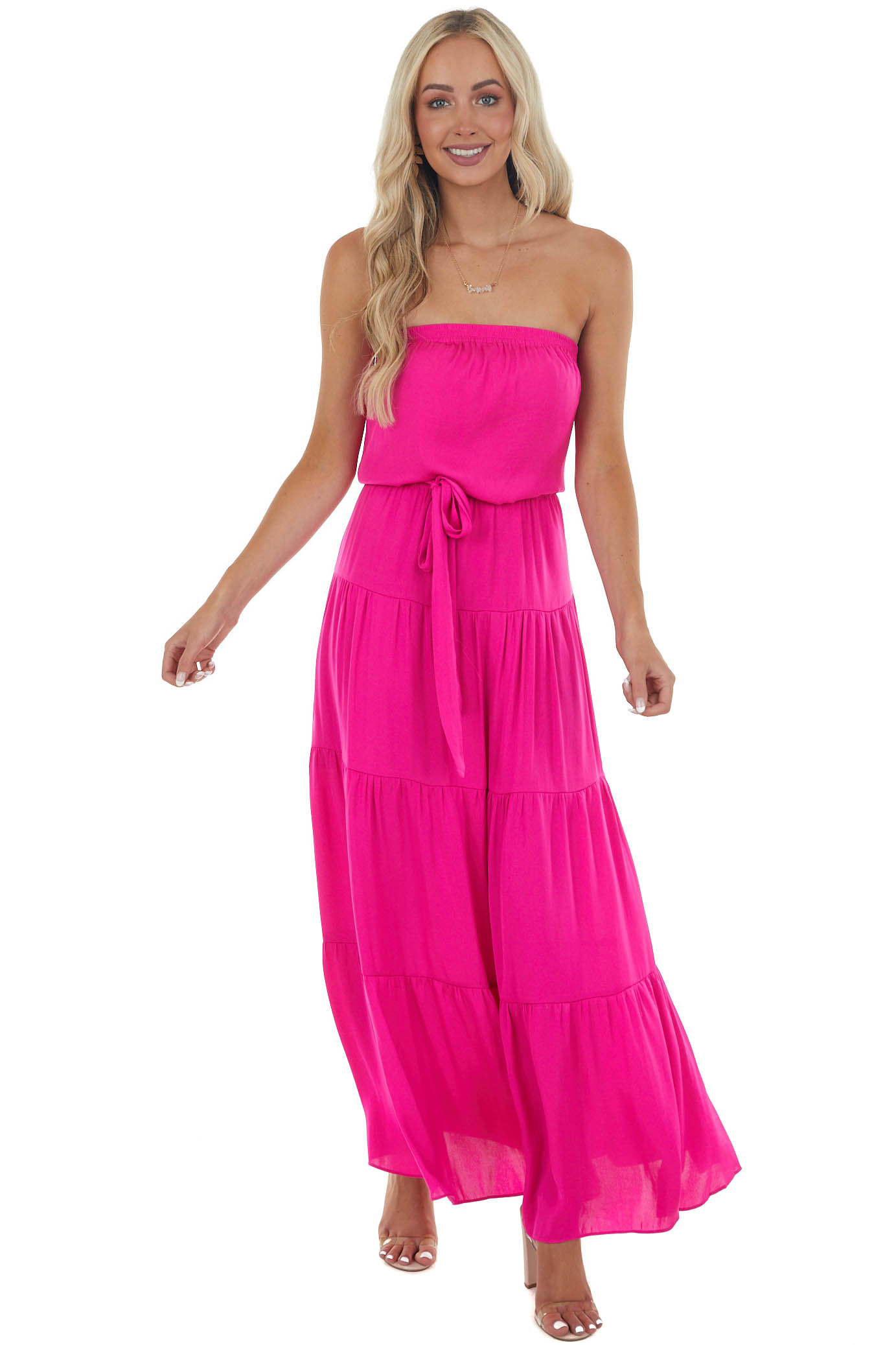 Magenta Tiered Strapless Maxi Dress with Elastic Waist