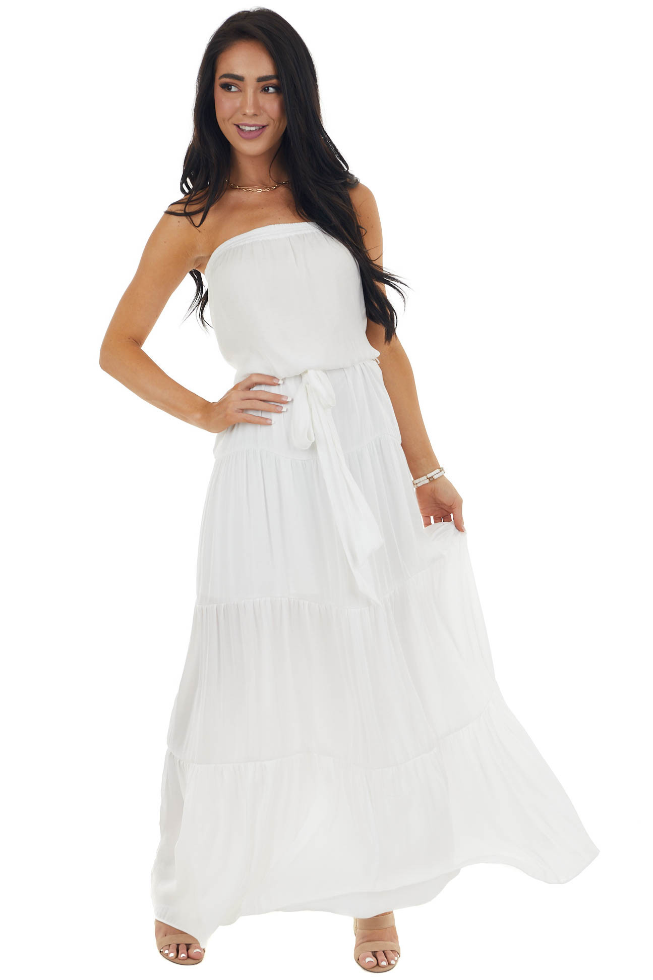 Off White Tiered Strapless Maxi Dress with Elastic Waist