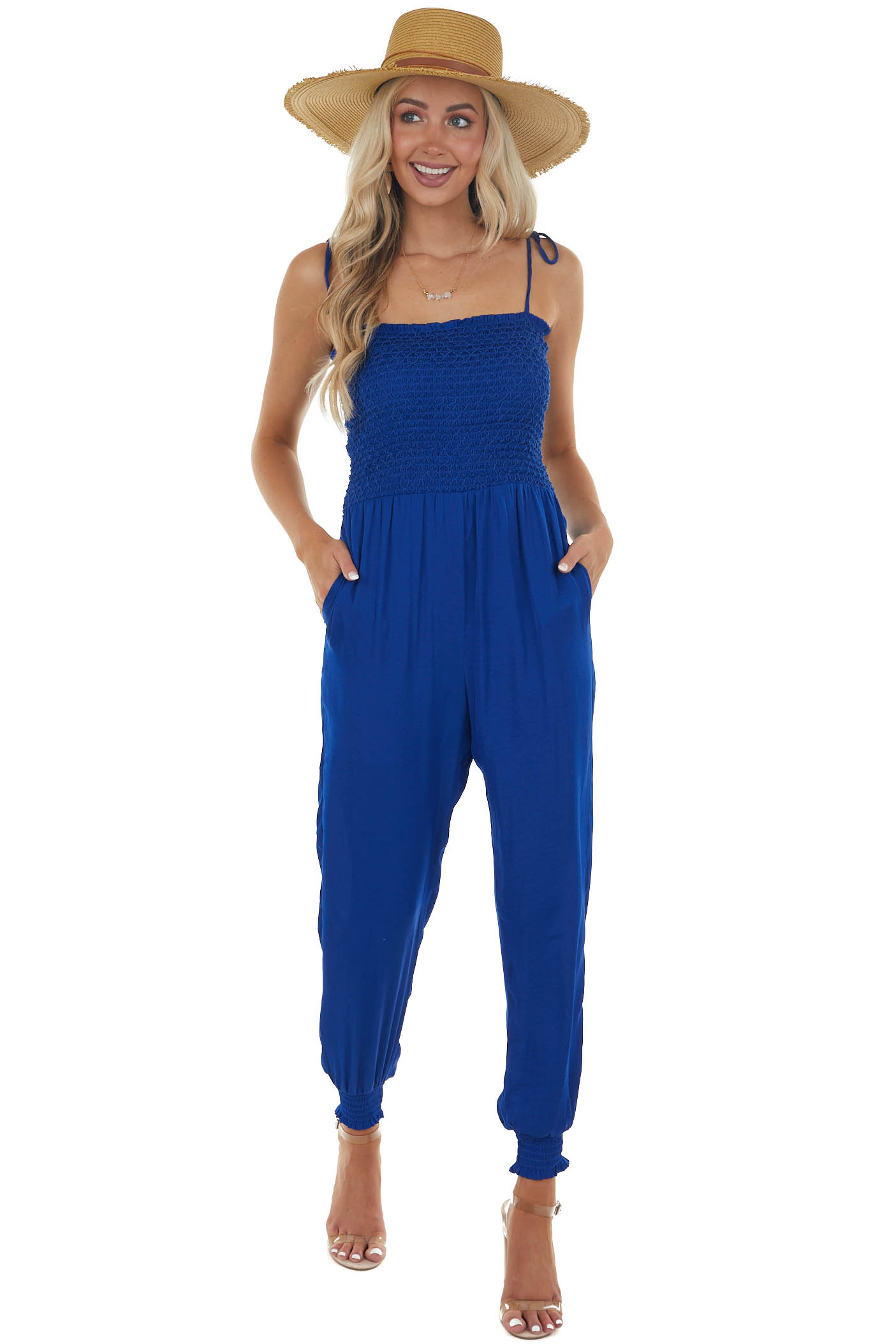 Catalina Blue Smocked Jumpsuit with Tie Straps