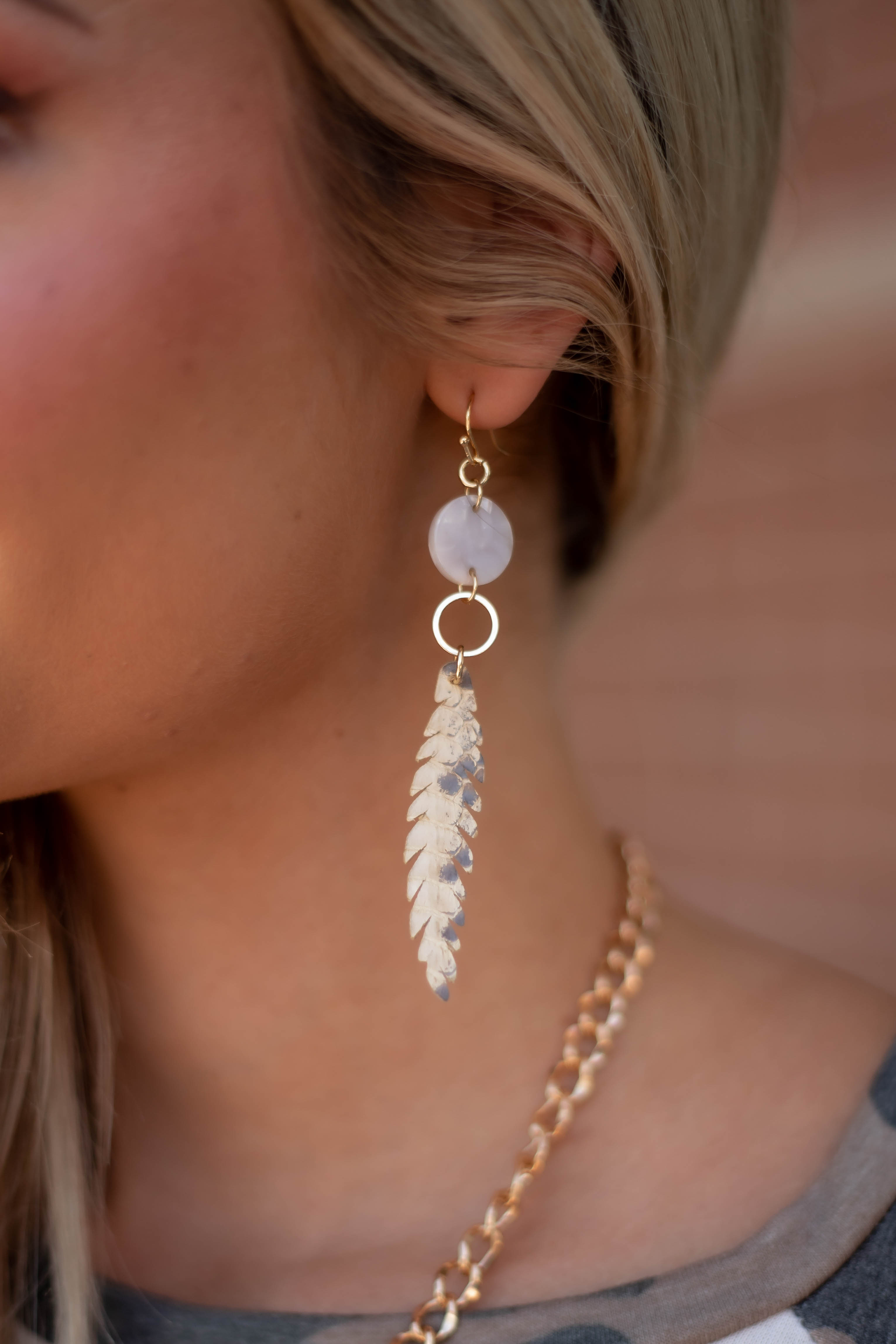 Taupe Snakeskin Drop Feather Earrings