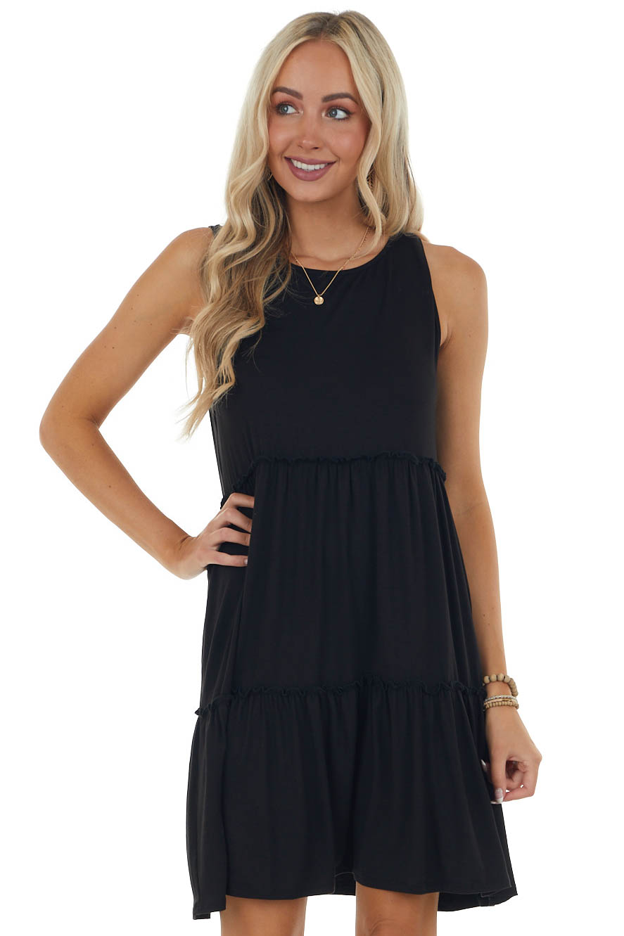 Black Short Knit Dress with Ruffle Detail