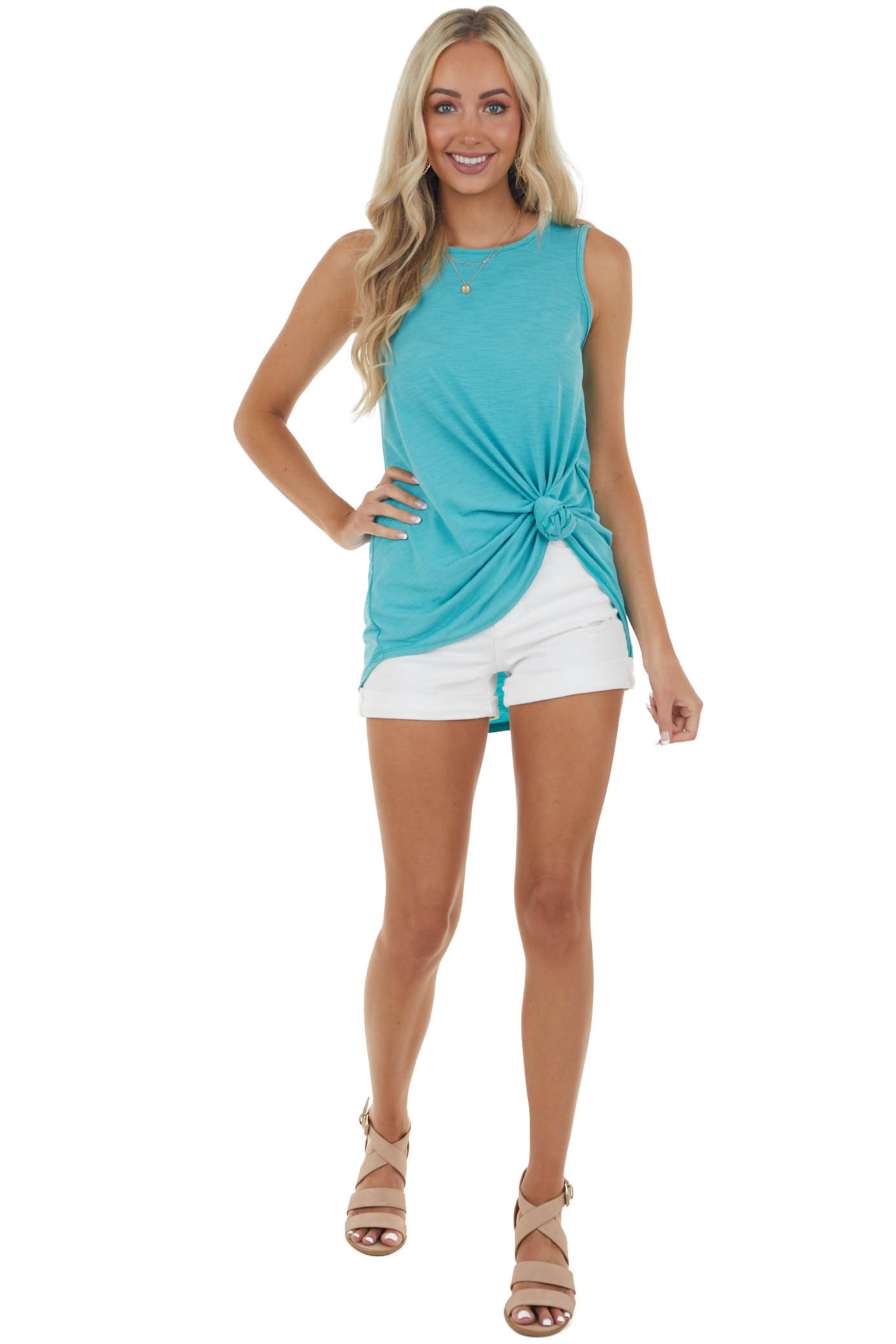 Teal Textured A Line Stretchy Knit Tank Top