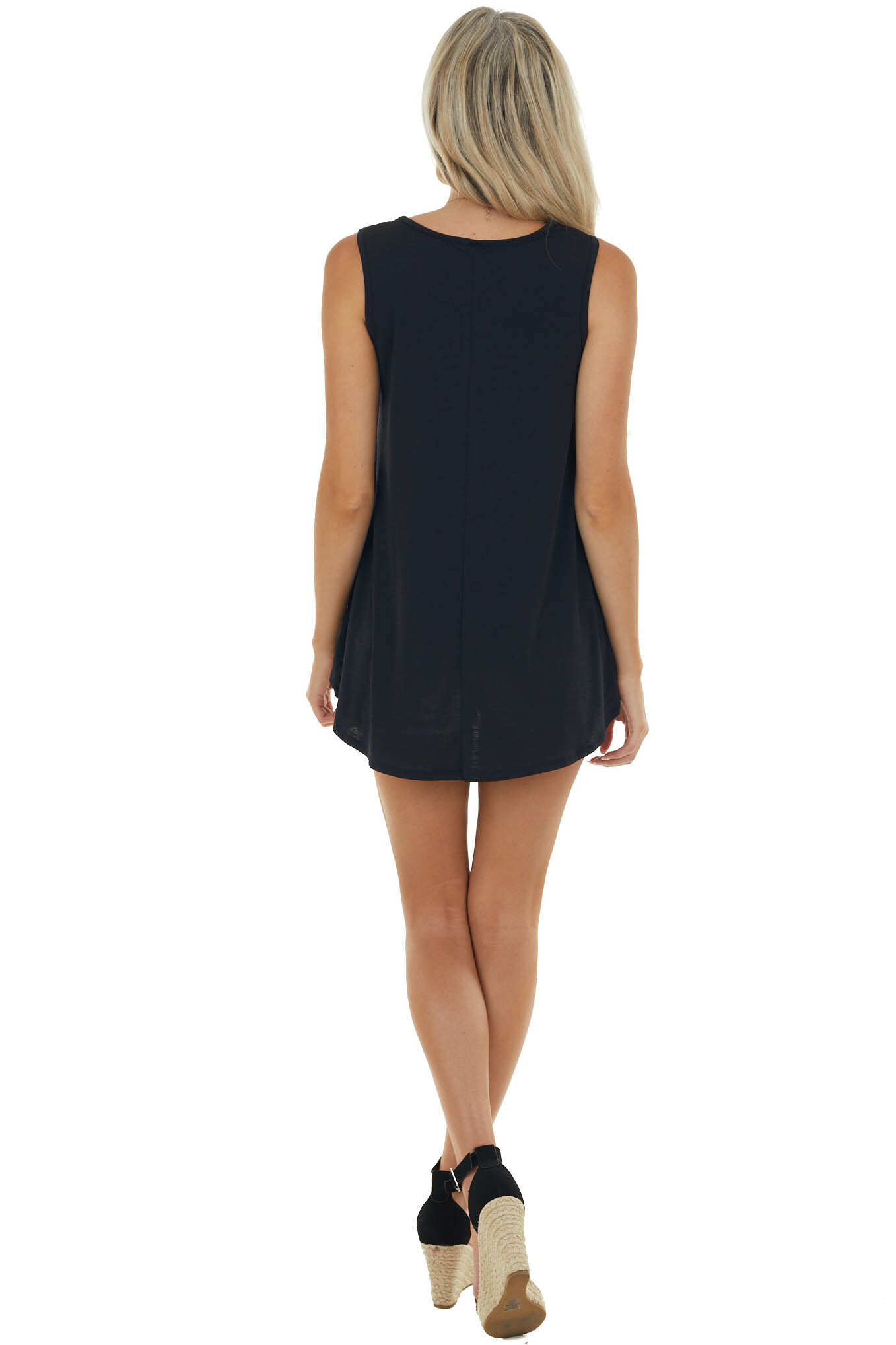 Black Textured A Line Stretchy Knit Tank Top