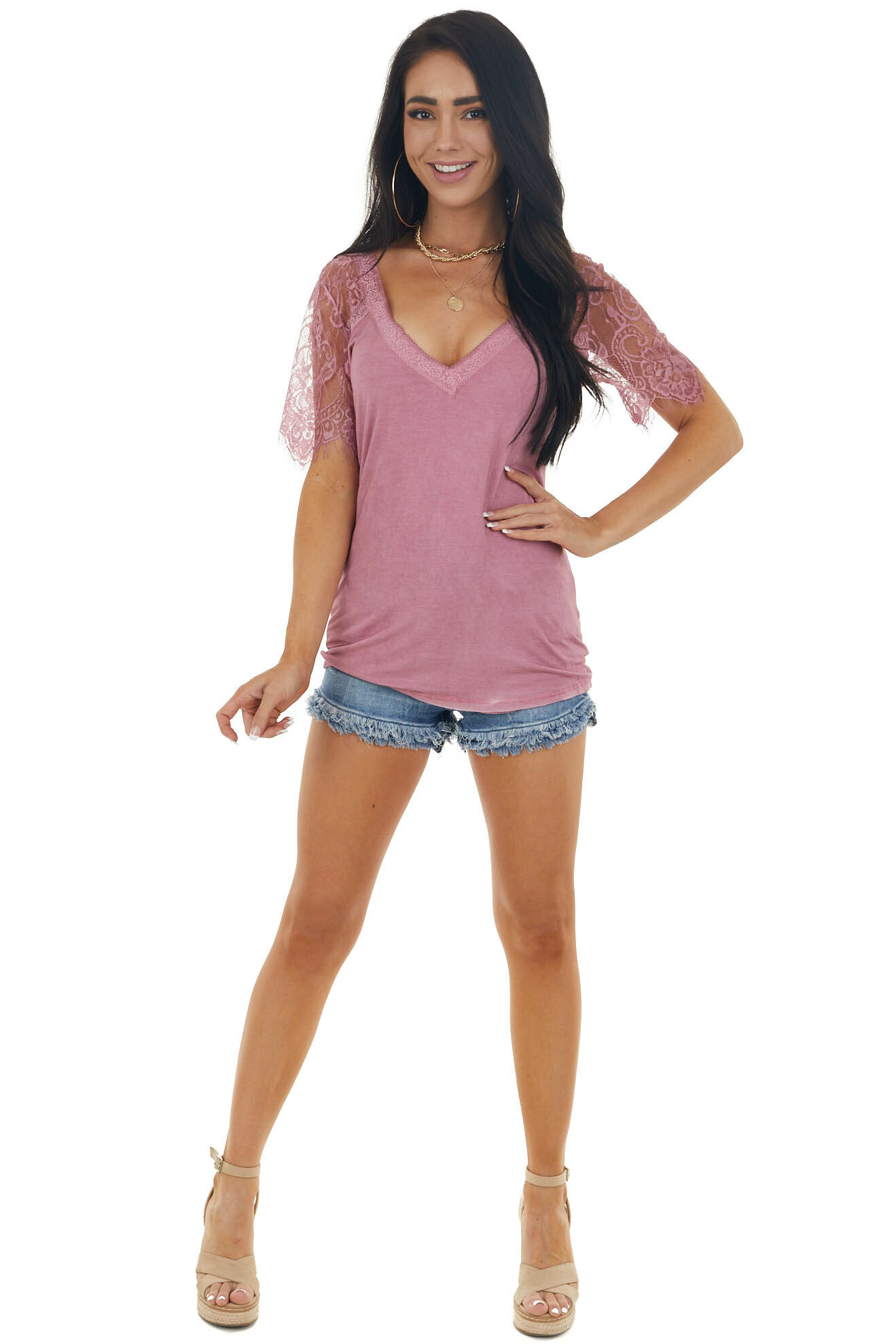 Berry V Neck Short Sleeve Top with Lace Detail