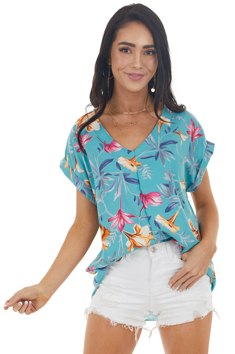 Teal Blue Floral Print Short Sleeve Woven Top