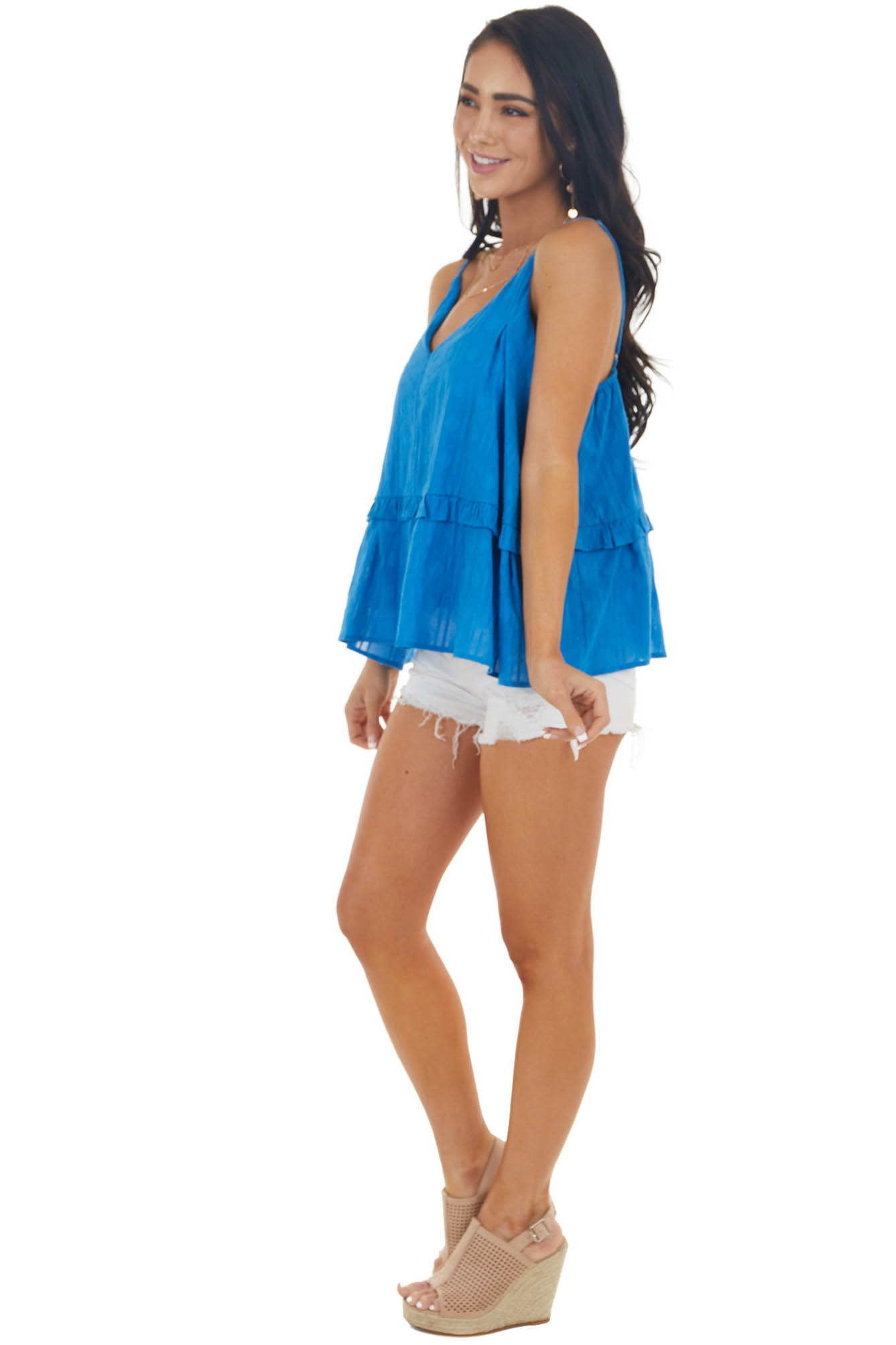 Sapphire V Neck Tiered Woven Tank Top