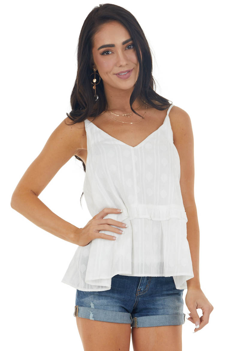 Off White V Neck Tiered Woven Tank Top