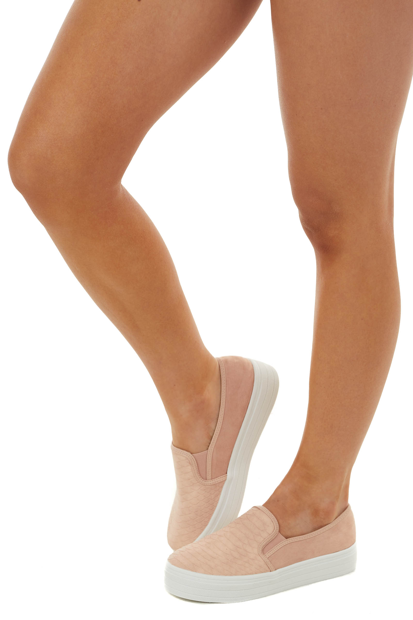 Blush Animal Textured Faux Suede Slip On Sneakers