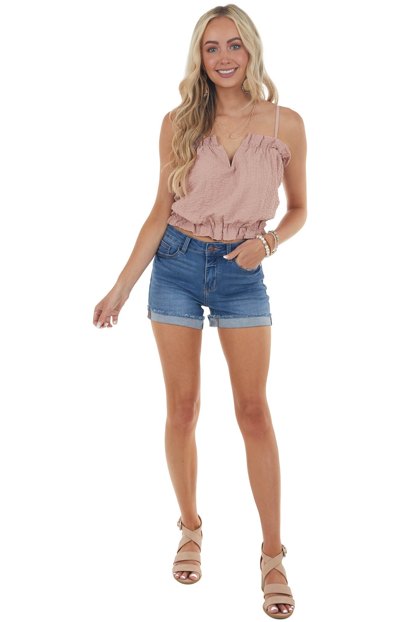 Dusty Blush Split Neck Textured Cropped Top