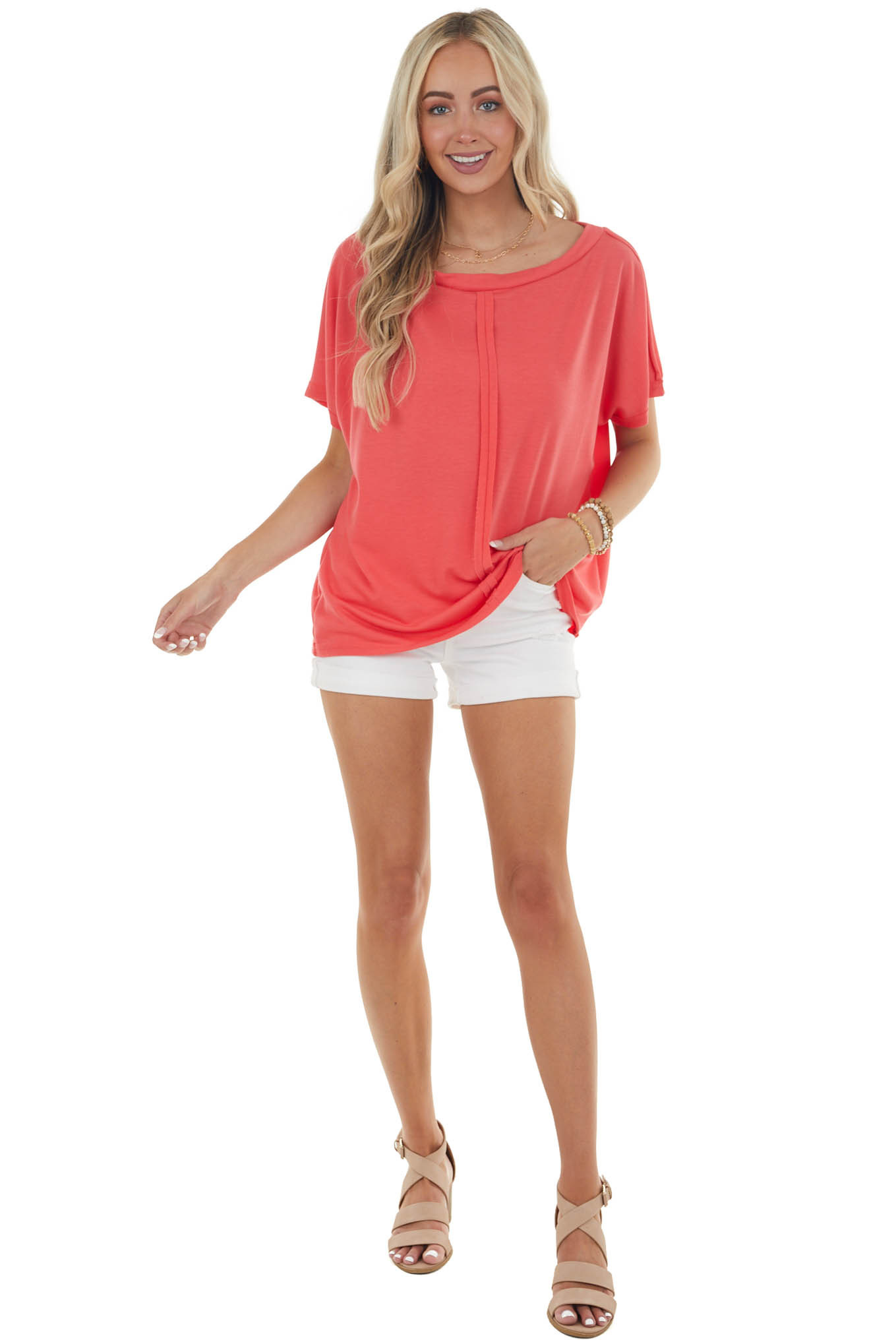 Punch Half Sleeve Knit Top with Raw Edge Seam Detail