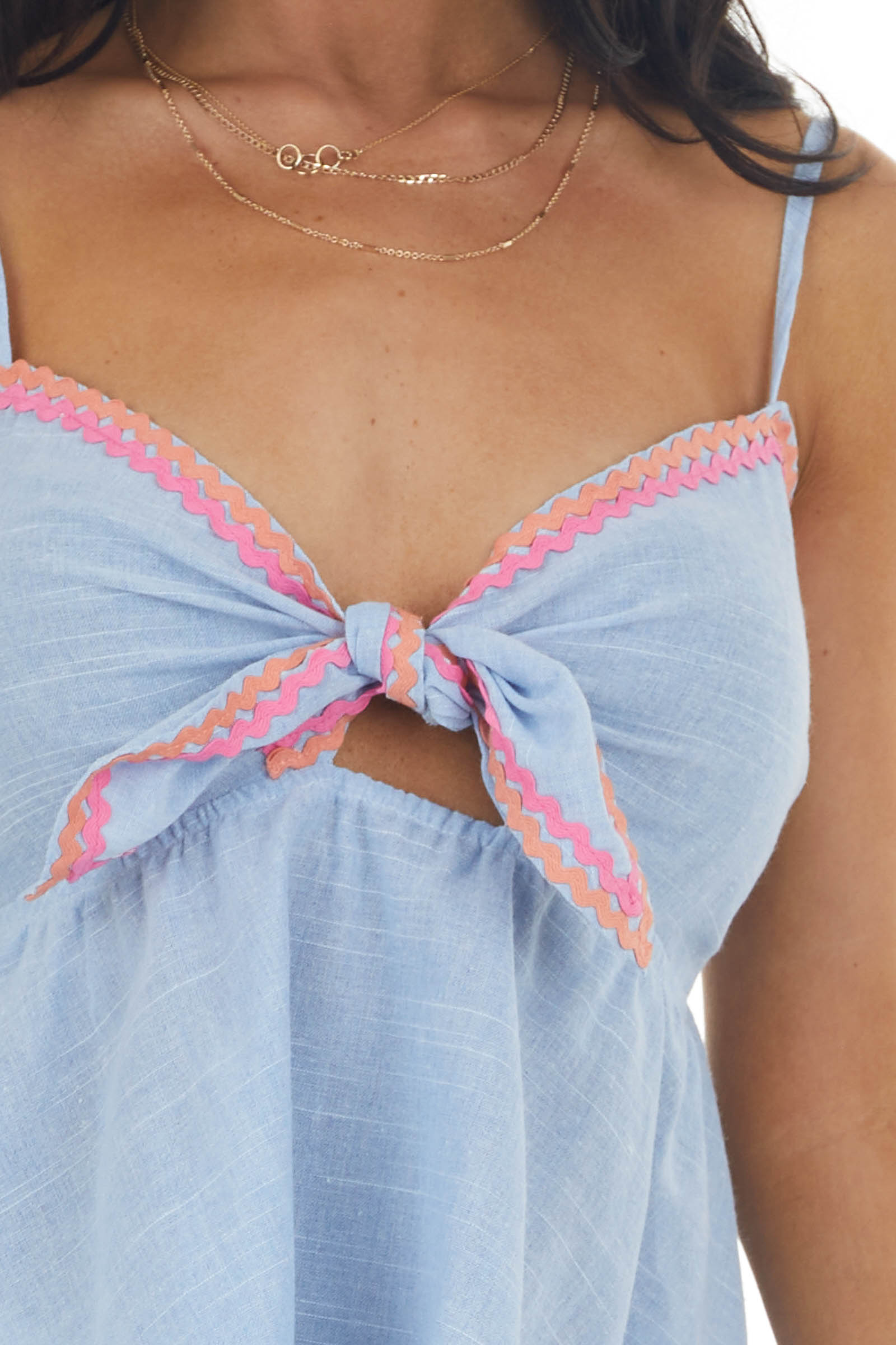 Light Chambray Front Tie Tank Top
