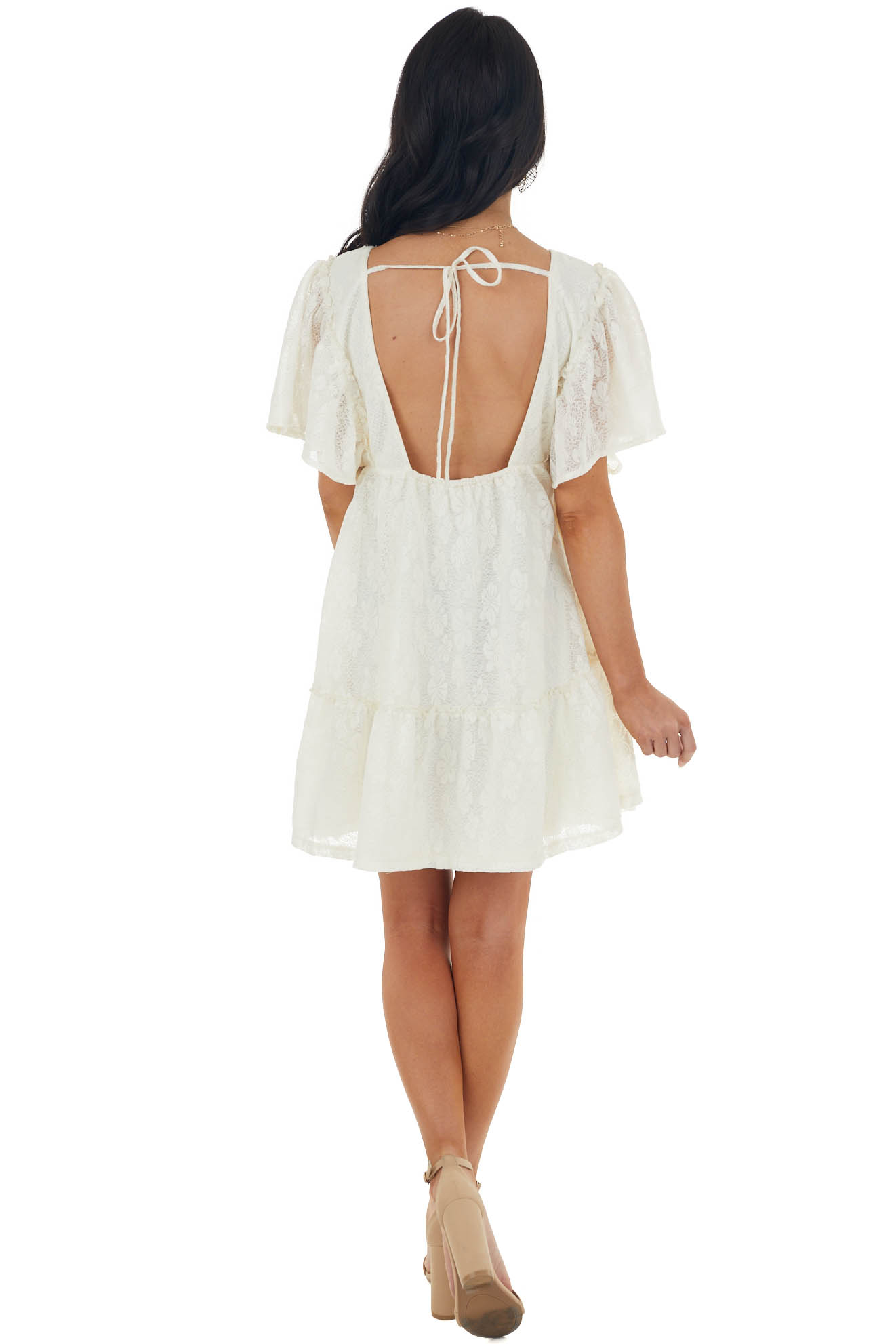 Cream Lace Mini Babydoll Dress with Open Back