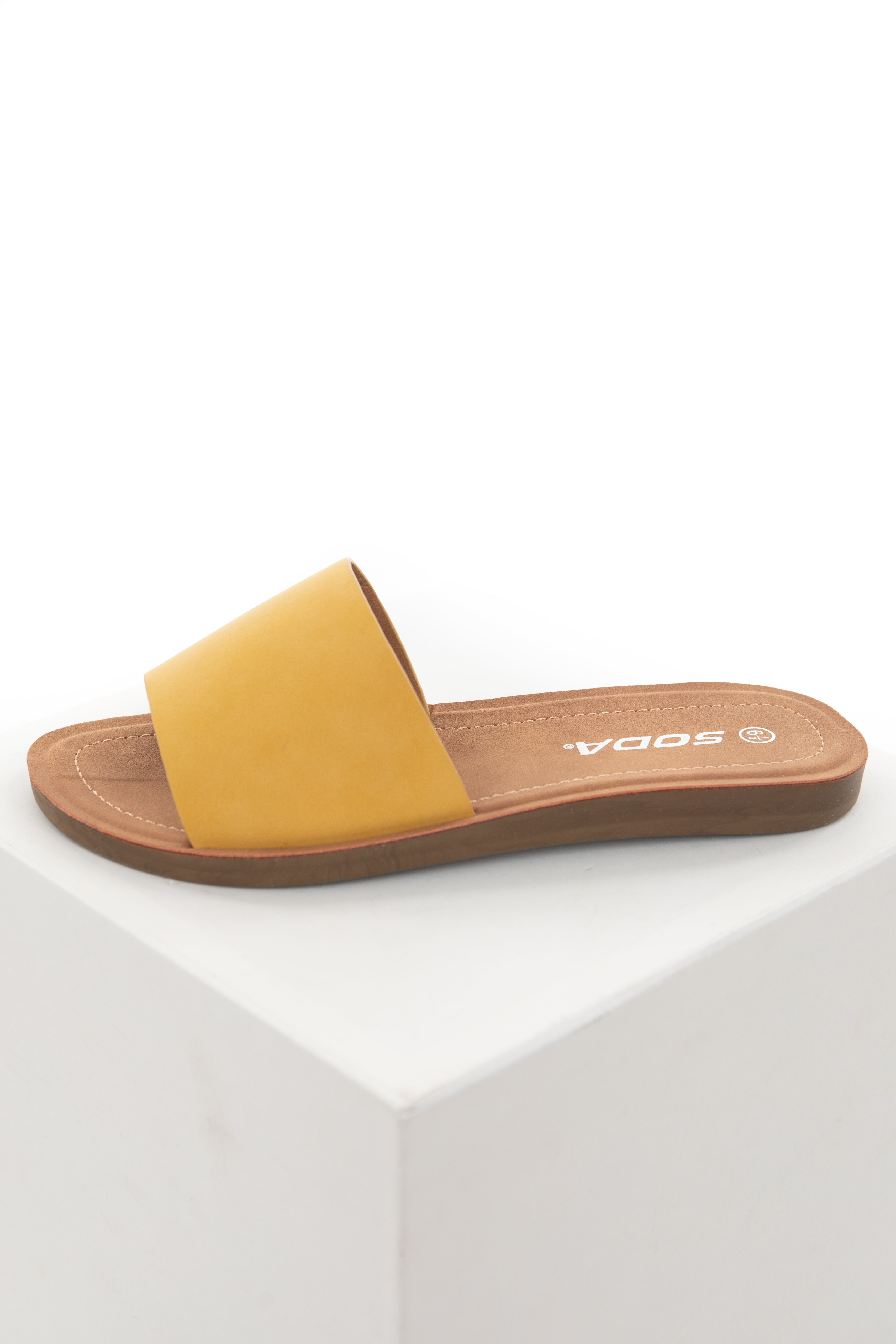 Amber Faux Leather Slip On Style Sandal