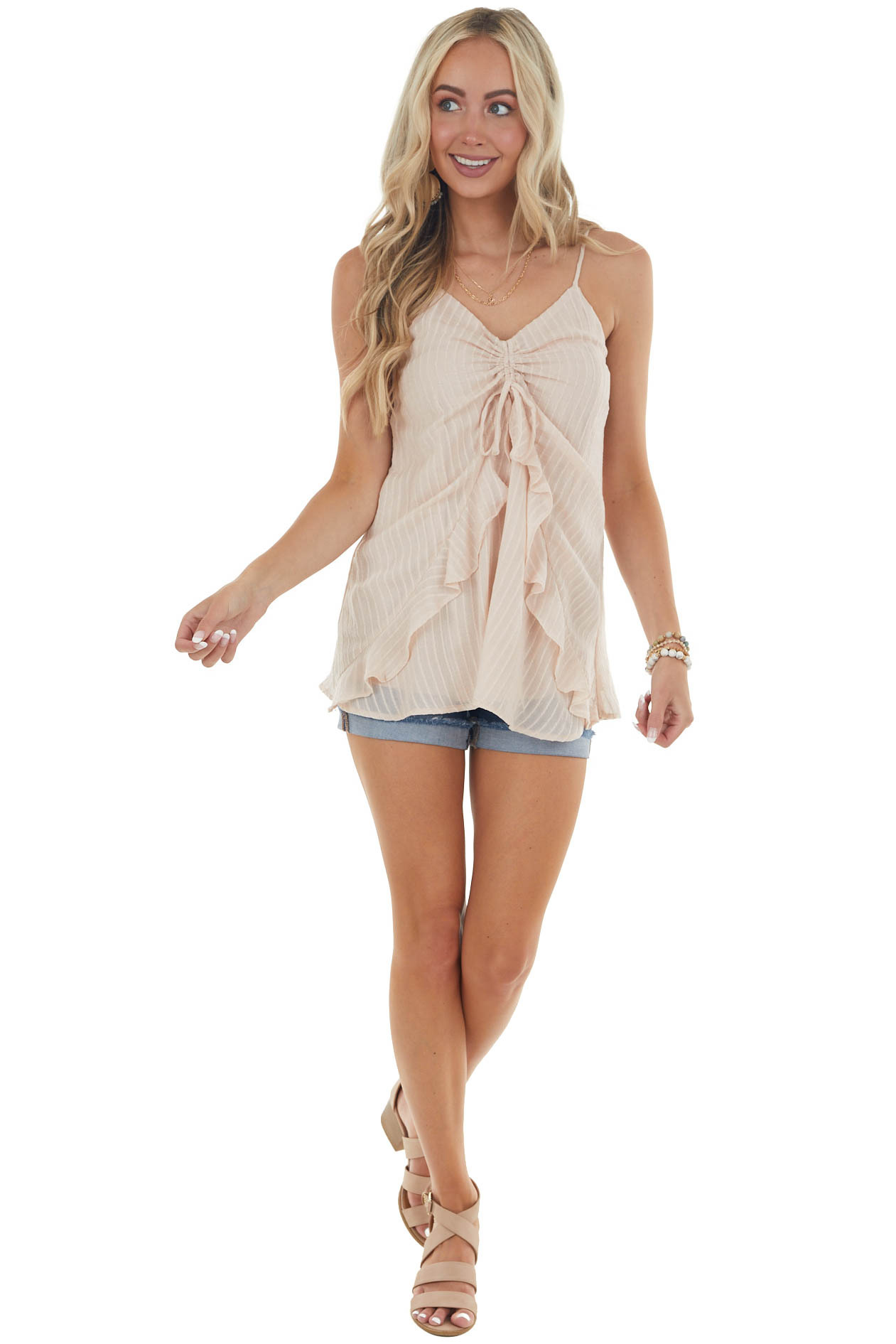 Light Rose Taupe Sleeveless Top with Cinched Ruffle Detail