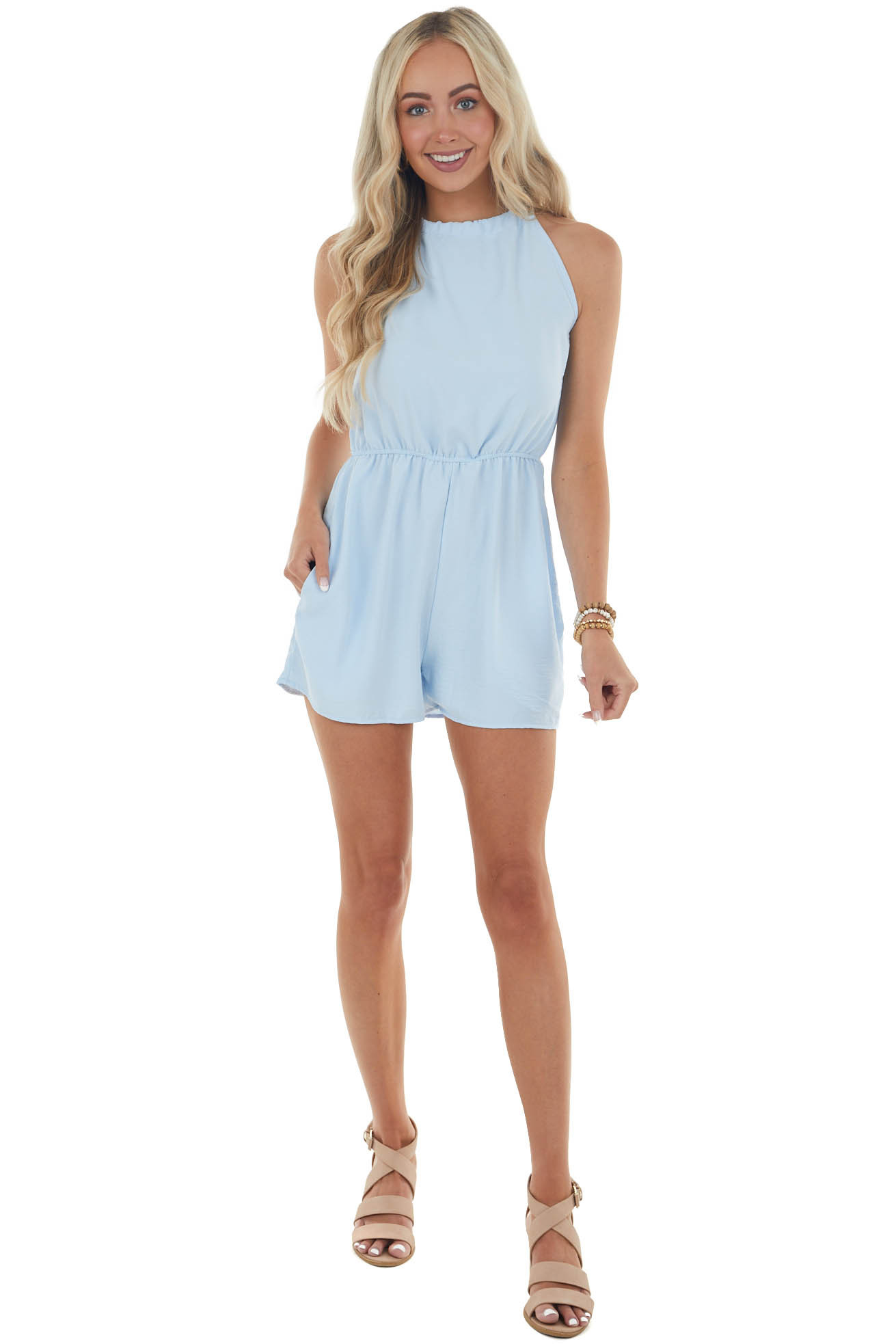 Baby Blue Sleeveless Romper with Tie Detail