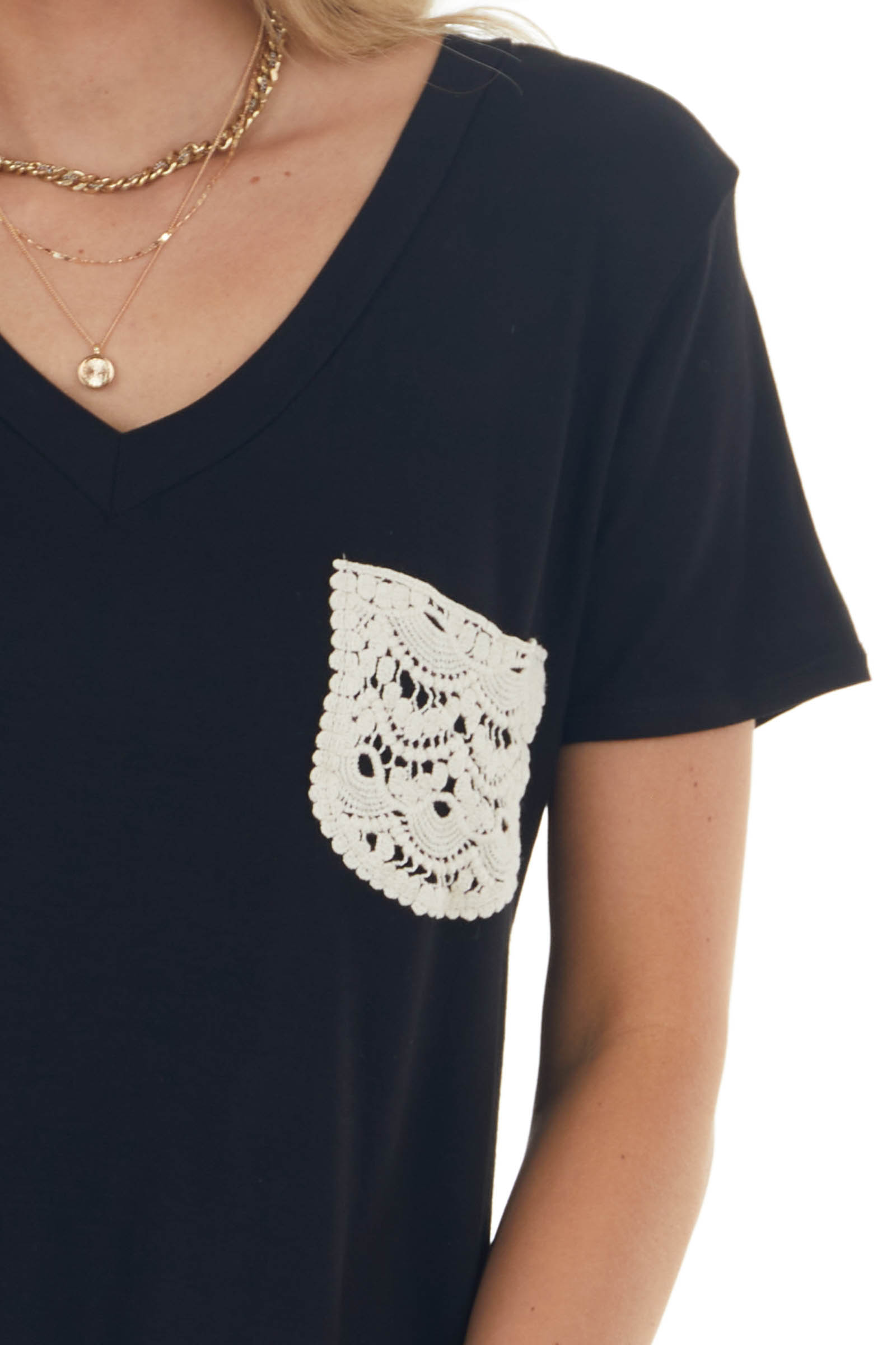 Black V Neck Tee with Chest Lace Pocket