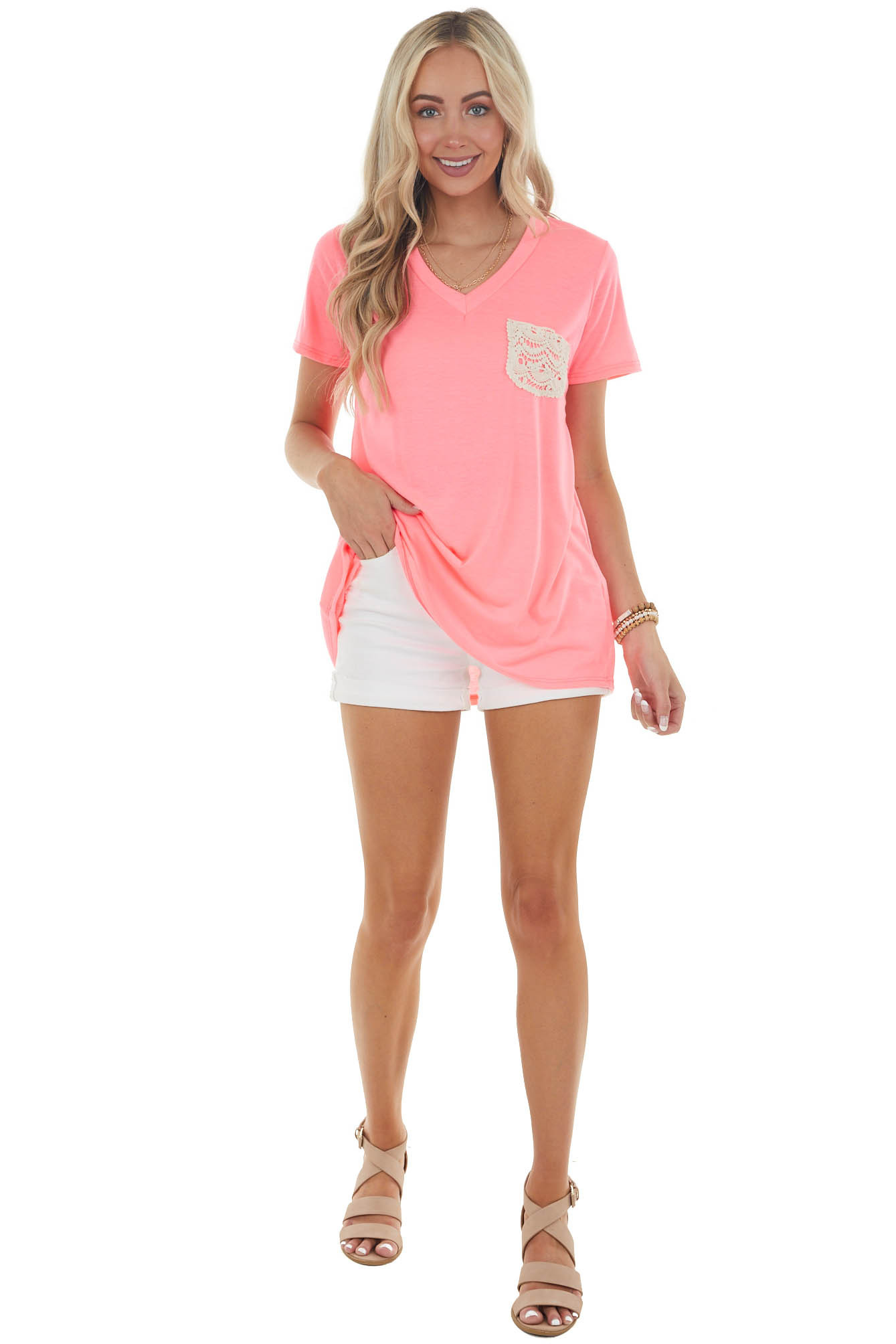 Neon Pink V Neck Tee with Chest Lace Pocket