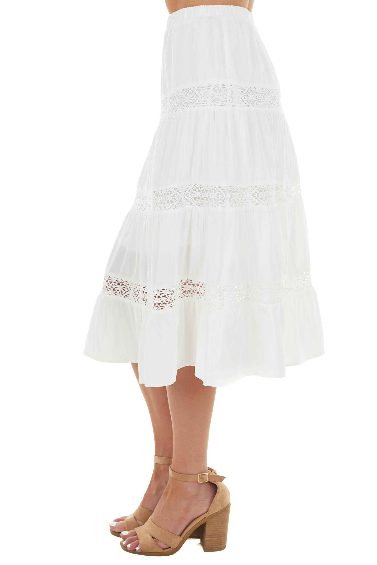 Off White Tiered Maxi Skirt with Lace Detail