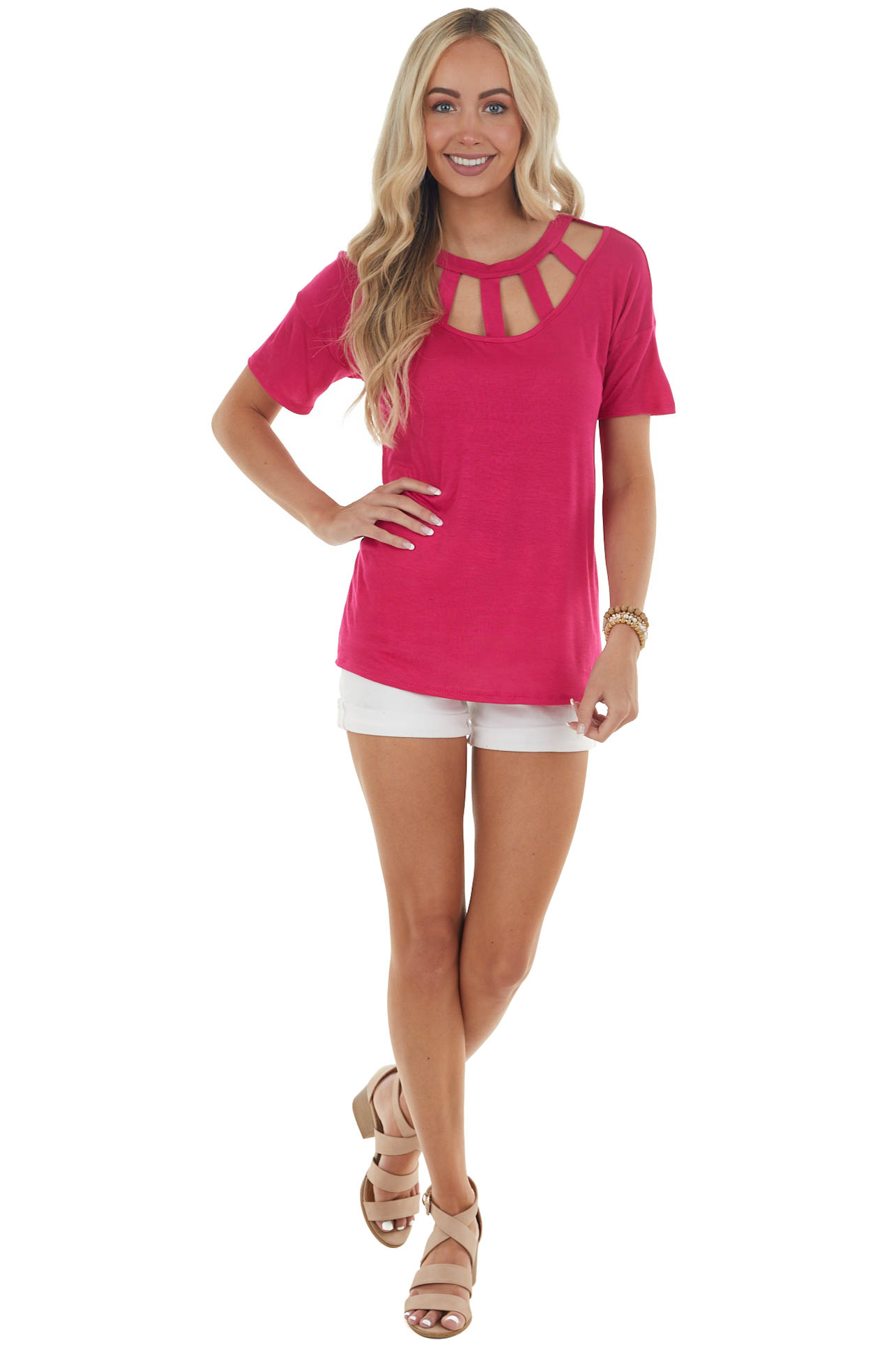 Magenta Short Sleeve Knit Top with Caged Neckline